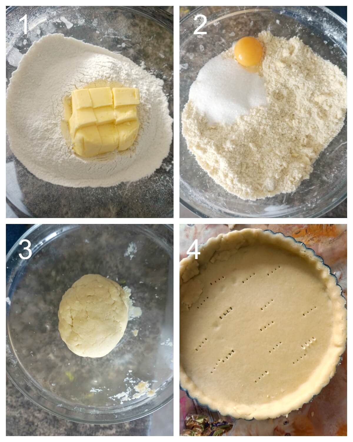 Collage of 4 photos to show how to make shortcrust pastry