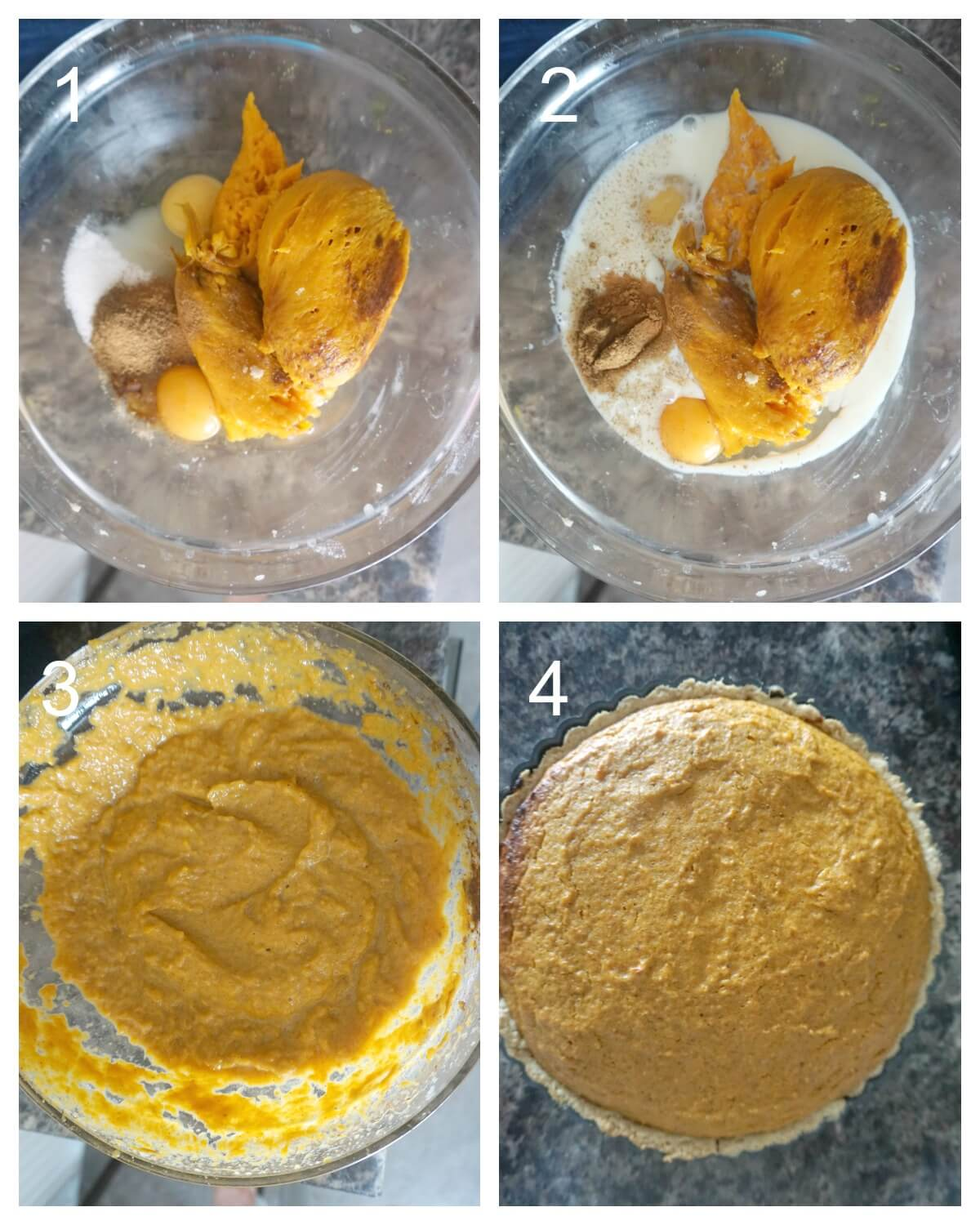 Collage of 4 pictures to show how to make the filling for the sweet potato pie