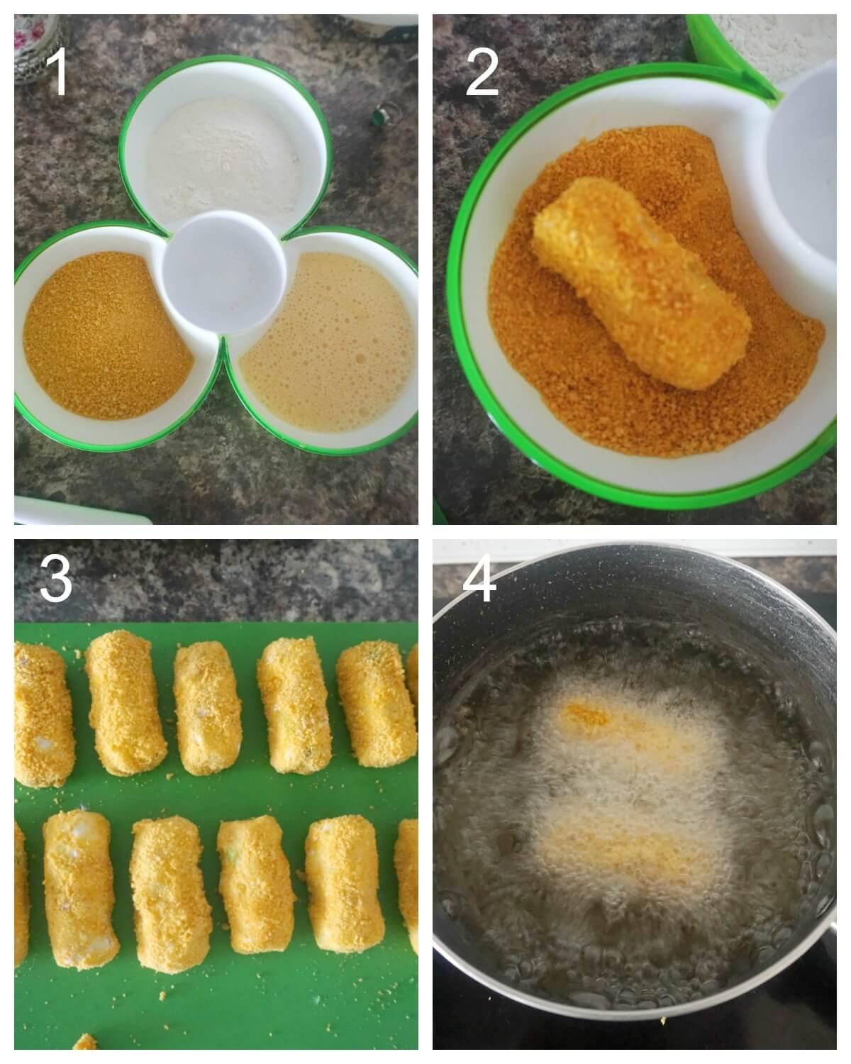 Collage of 4 photos to show how to fry the croquetes
