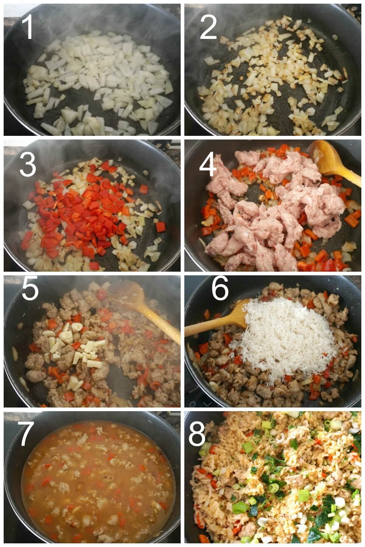 Collage of 8 photos to show how to make sausage rice