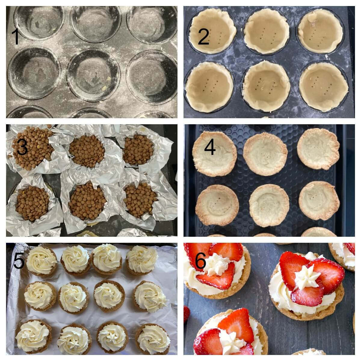 Collage of 6 photos to show how to fill the strawberry cream and custard tartlets
