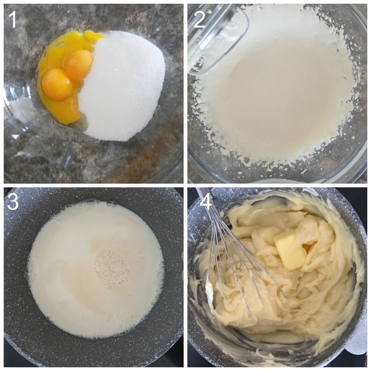 Collage of 4 photos to show how to make vanilla custard for tarts