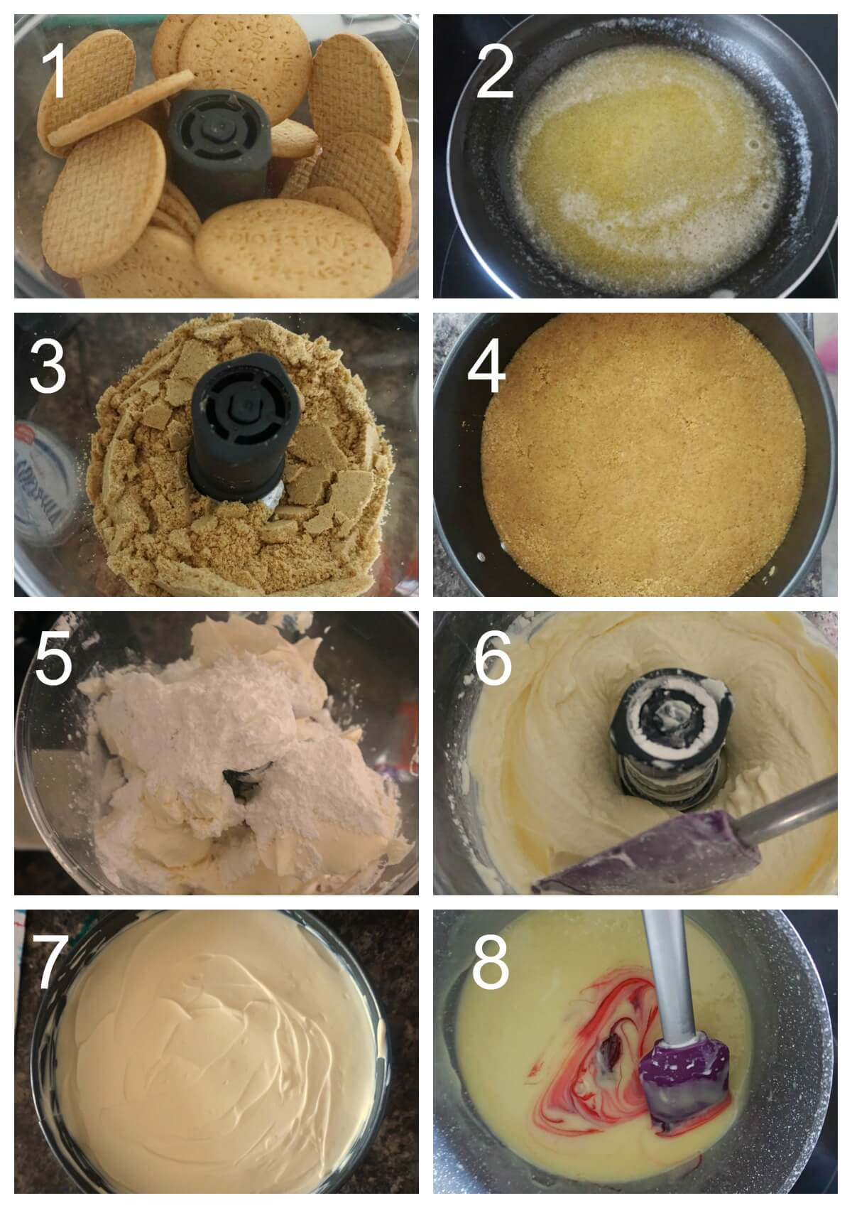 Collage of 8 photos to show how to make a bleeding cheesecake for Halloween