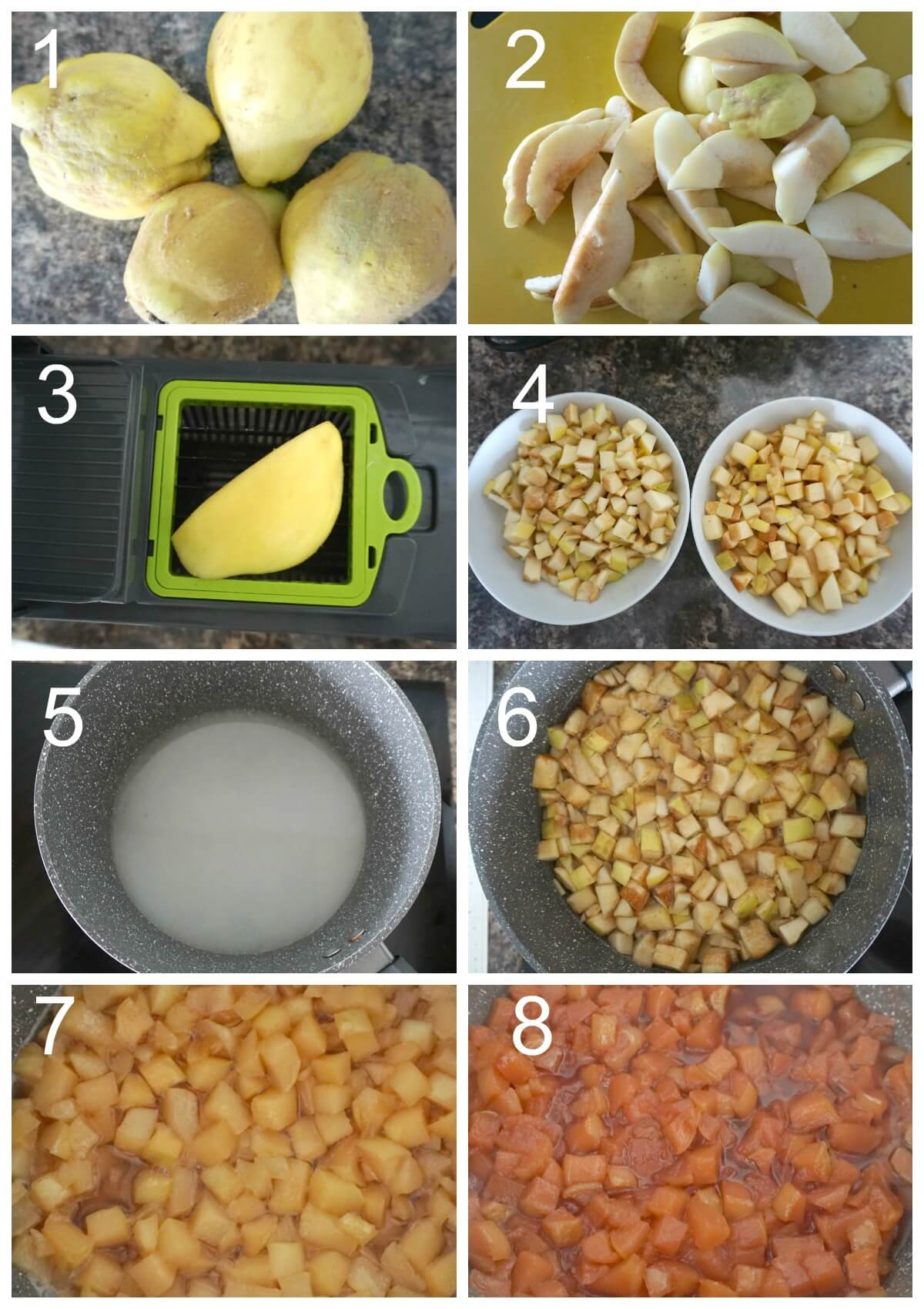 Collage of 8 photos to show how to make quince jam