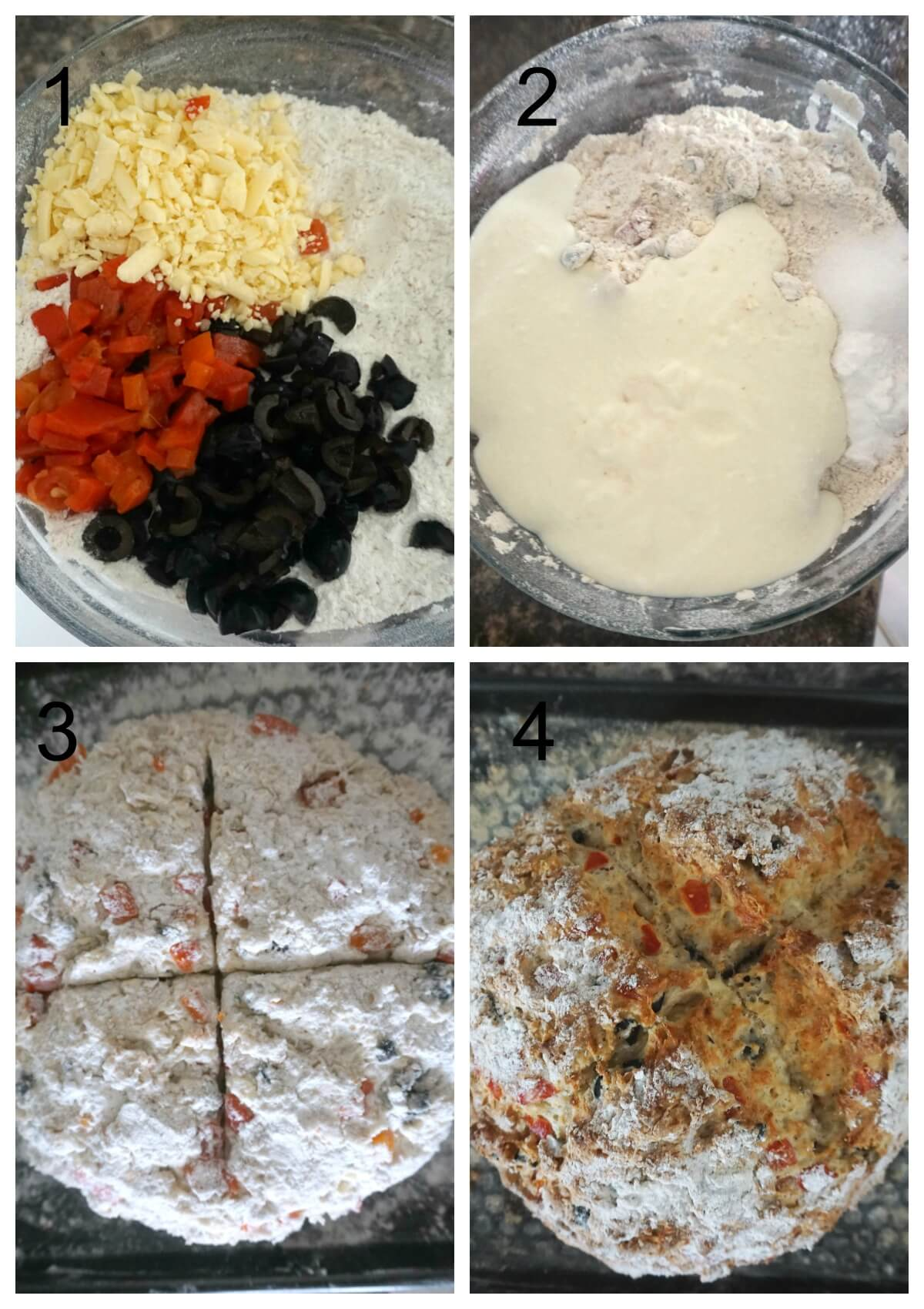 Collage of 4 photos to show how to make cheese soda bread