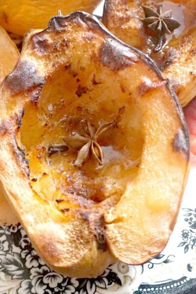 Close-up shoot of a baked quince half