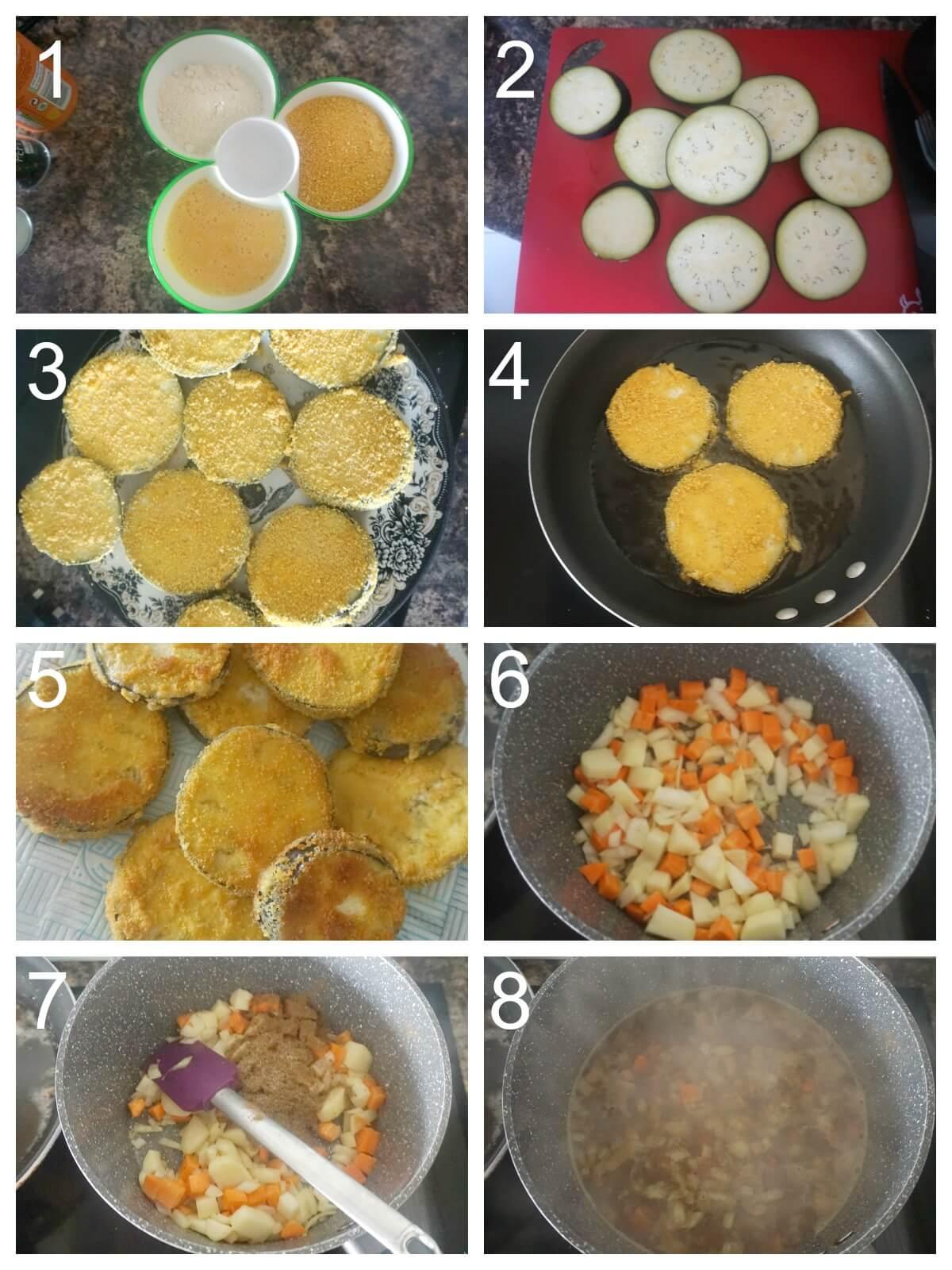 Collage of 8 photos to show how to make eggplant katsu