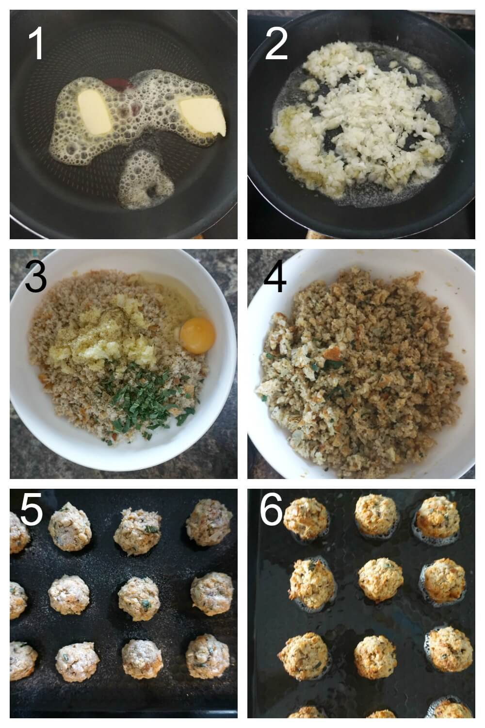 Collage of 6 photos to show how to make sage and onion stuffing balls