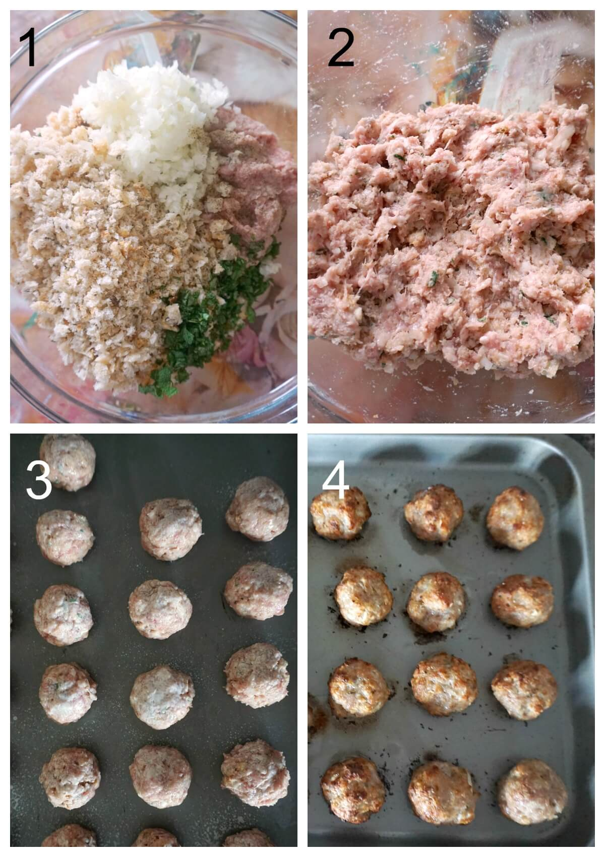 Collage of 6 photos to show how to make sausage stuffing balls