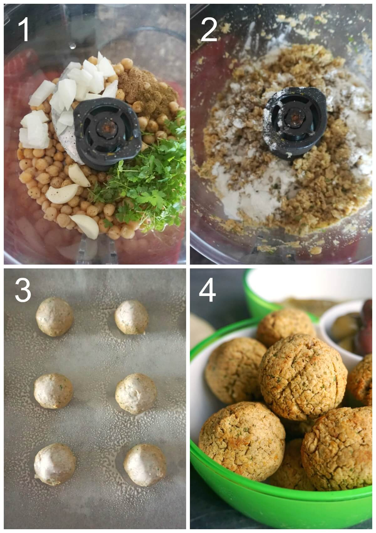 Collage of 4 photos to show how to make falafel