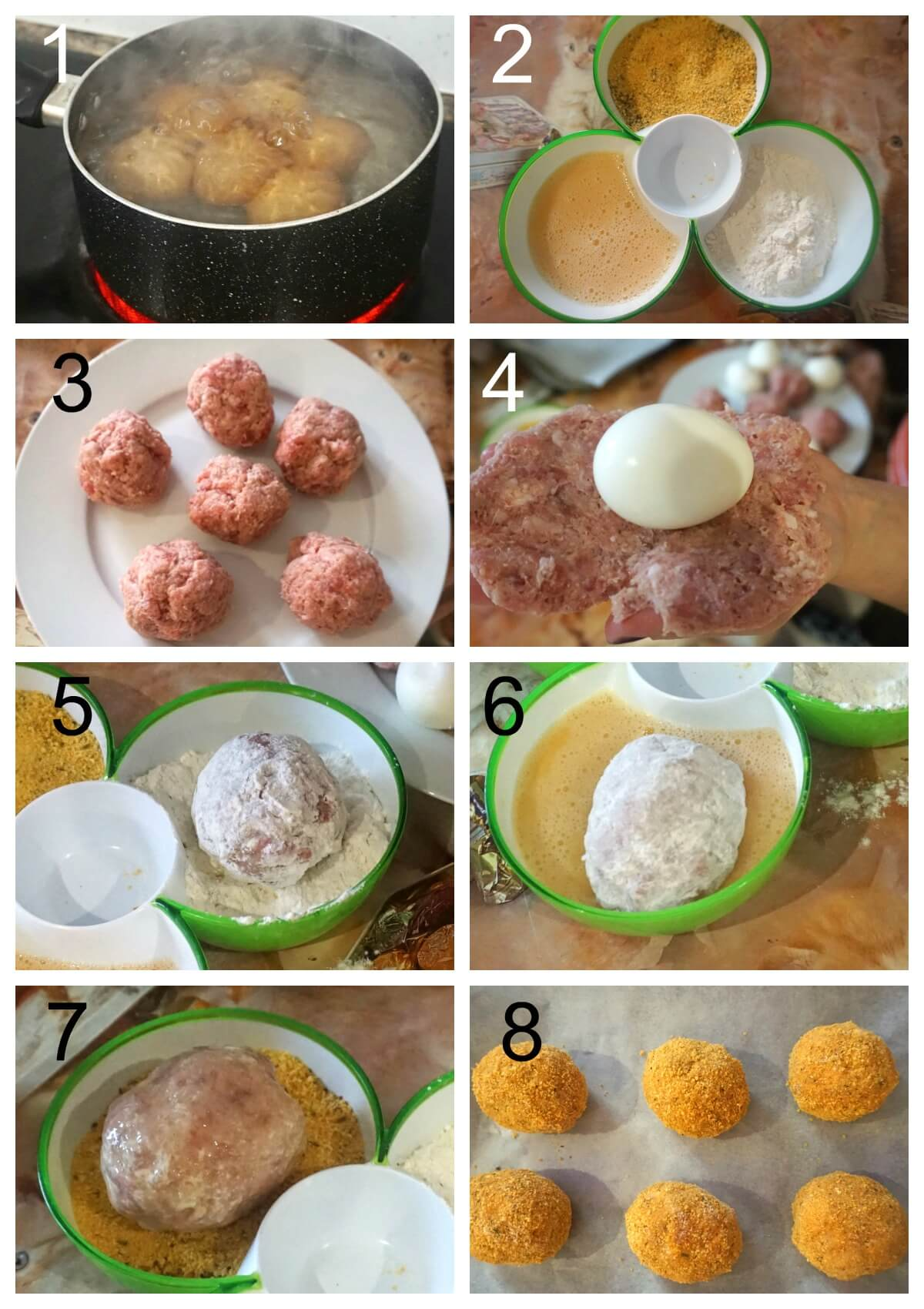Collage of 8 photos to show how to make scotch eggs