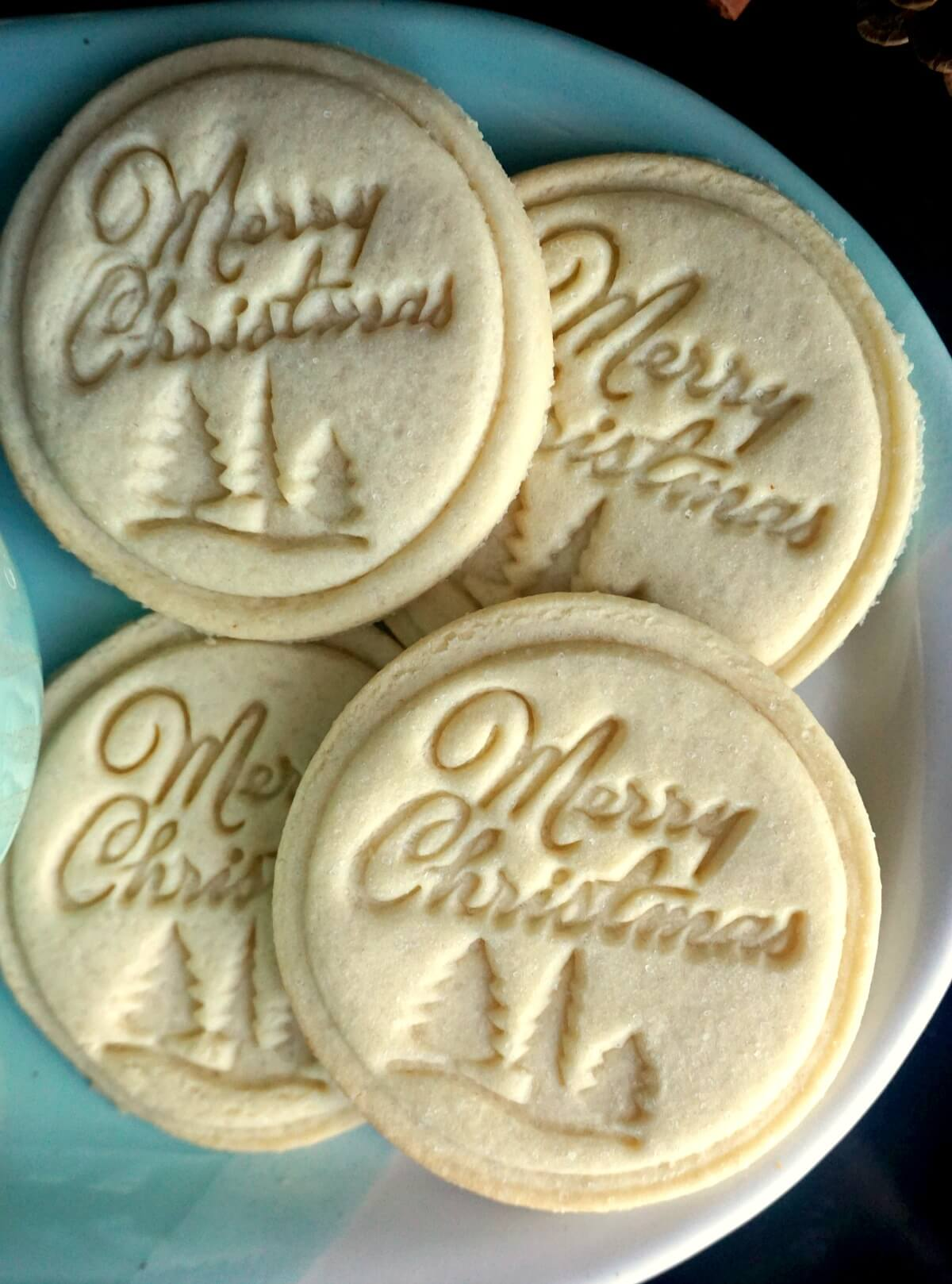 Close-up shoot of 4 stamped cookies