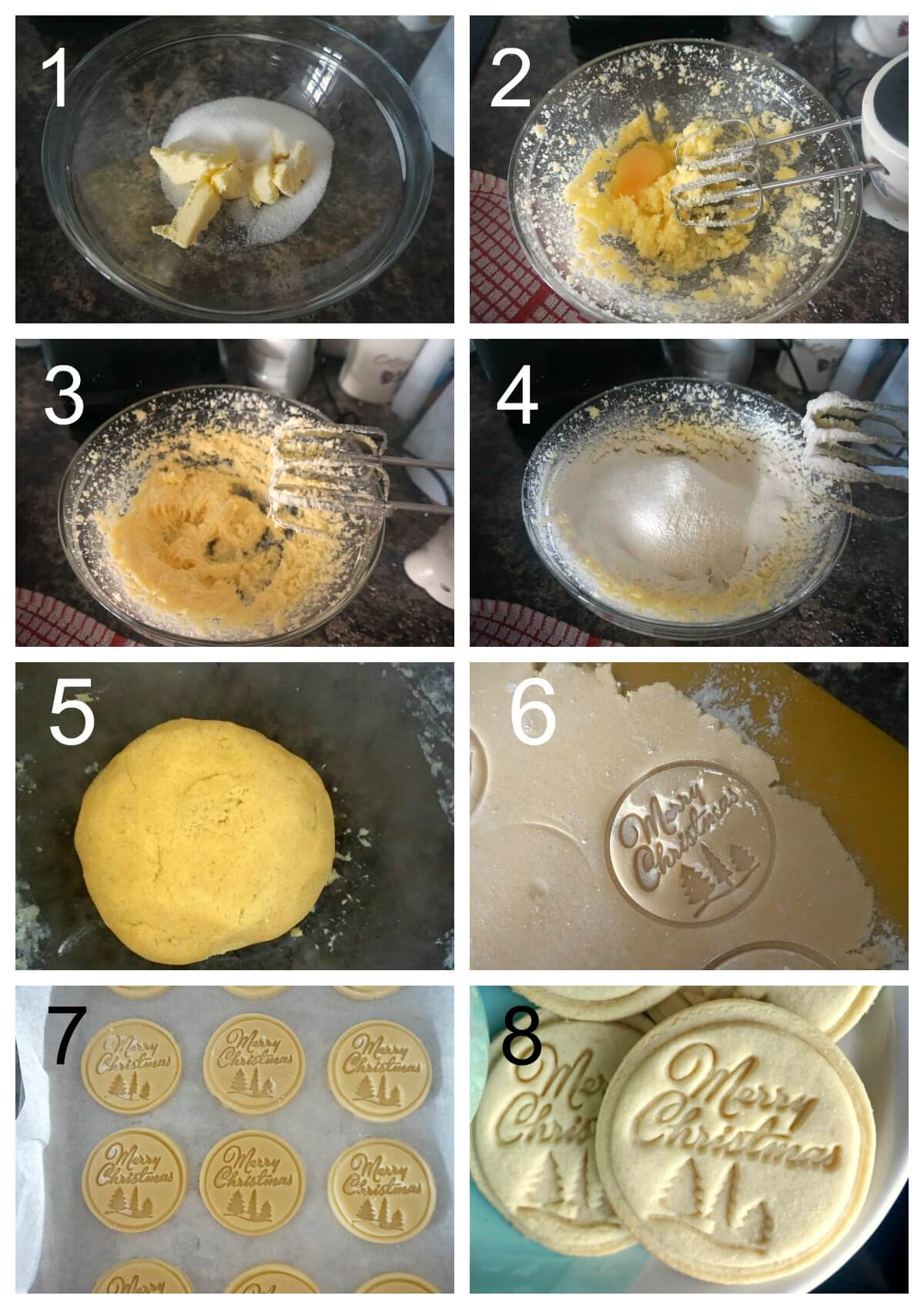 Collage of 8 photos to show how to make stamped cookies