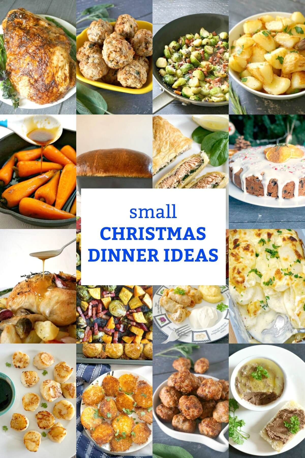 Collection of recipes for a small Christmas gathering