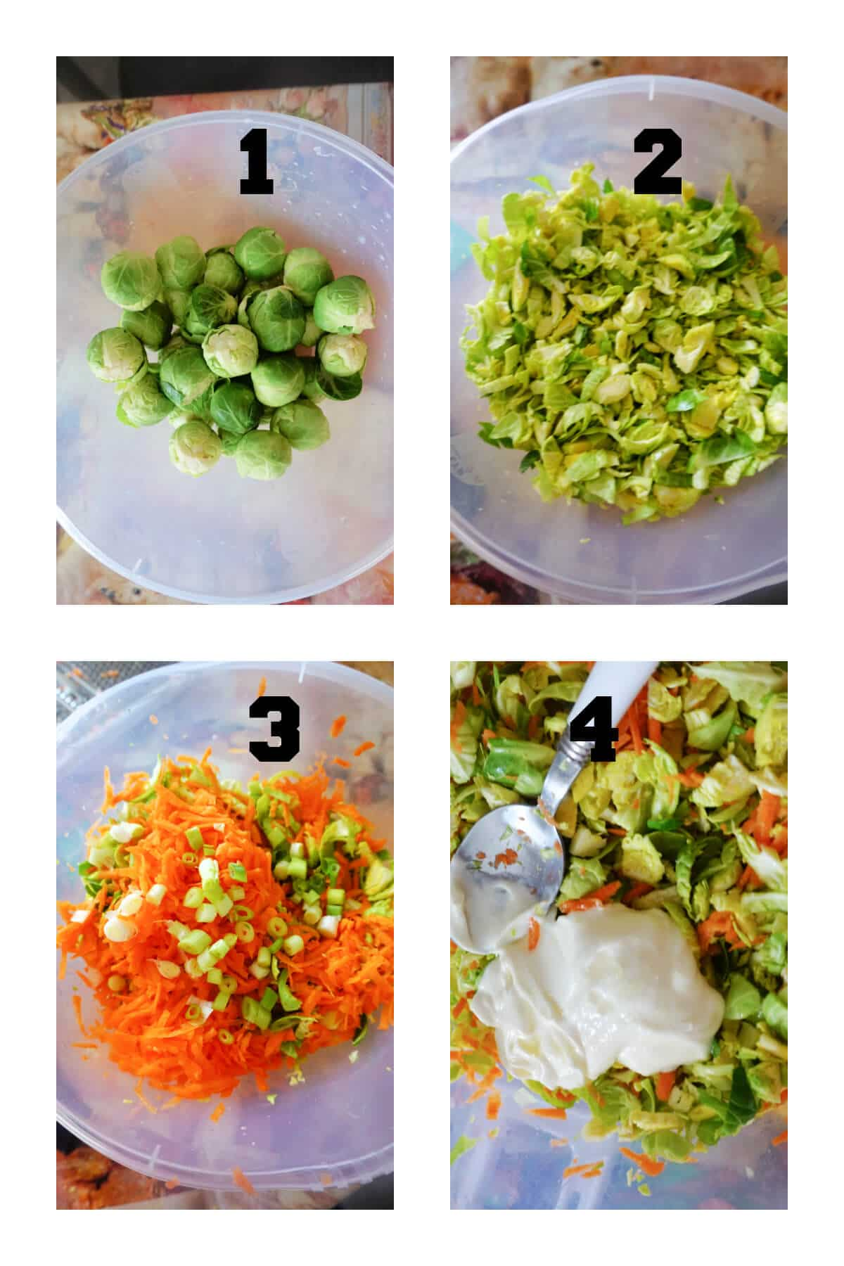 Collage of 4 photos to show how to make brussel sprout slaw