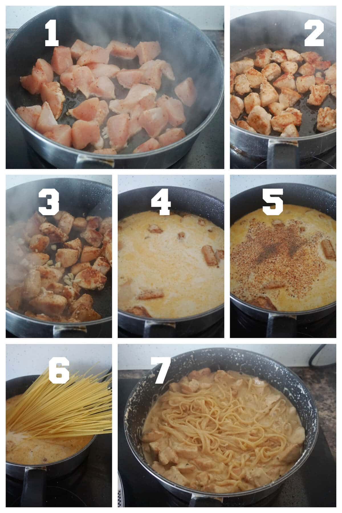 Collage of 7 photos to show how to make cajun chicken alfredo with spaghetti