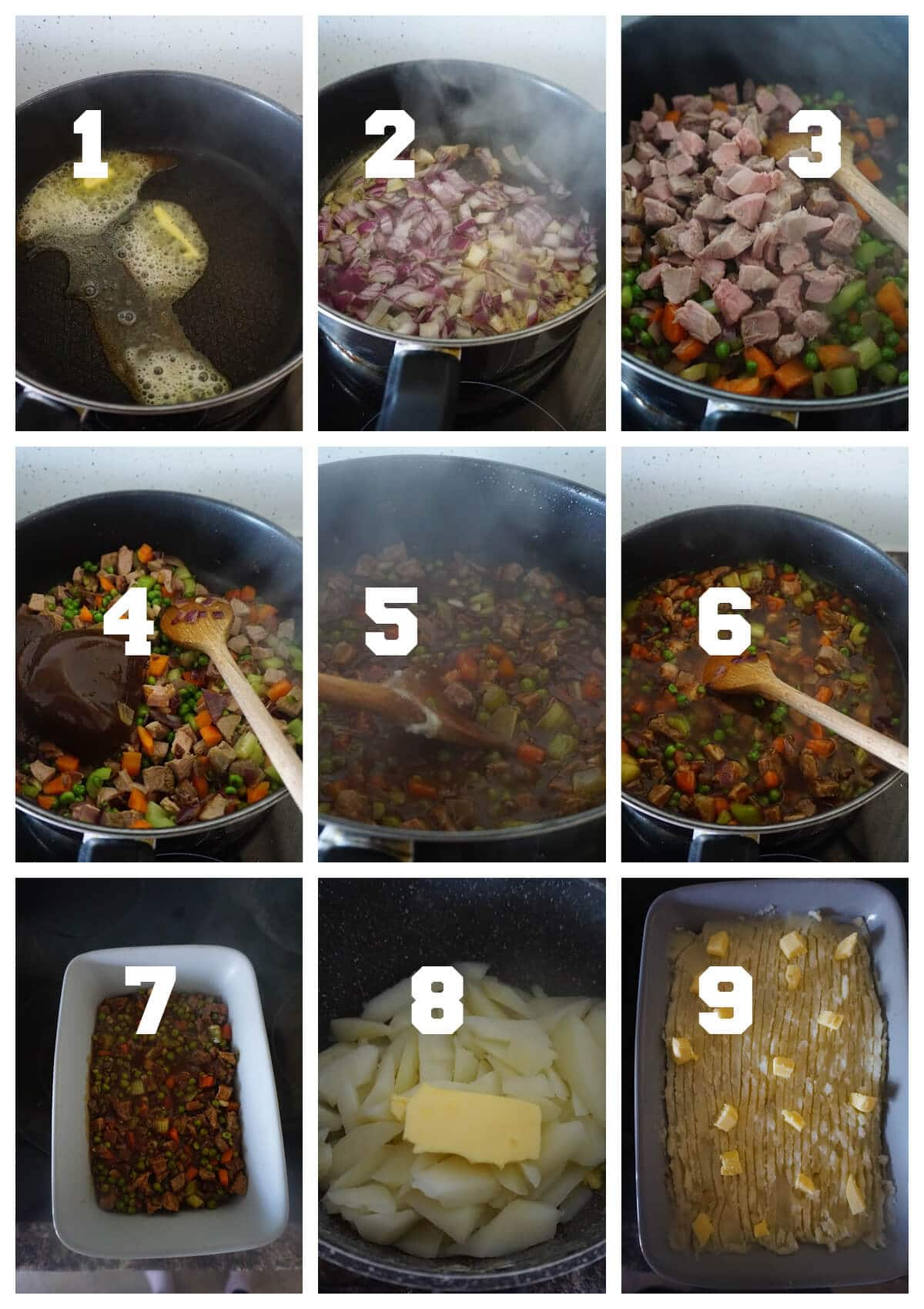 Collage of 9 photos to show how to make leftover roast beef cottage pie