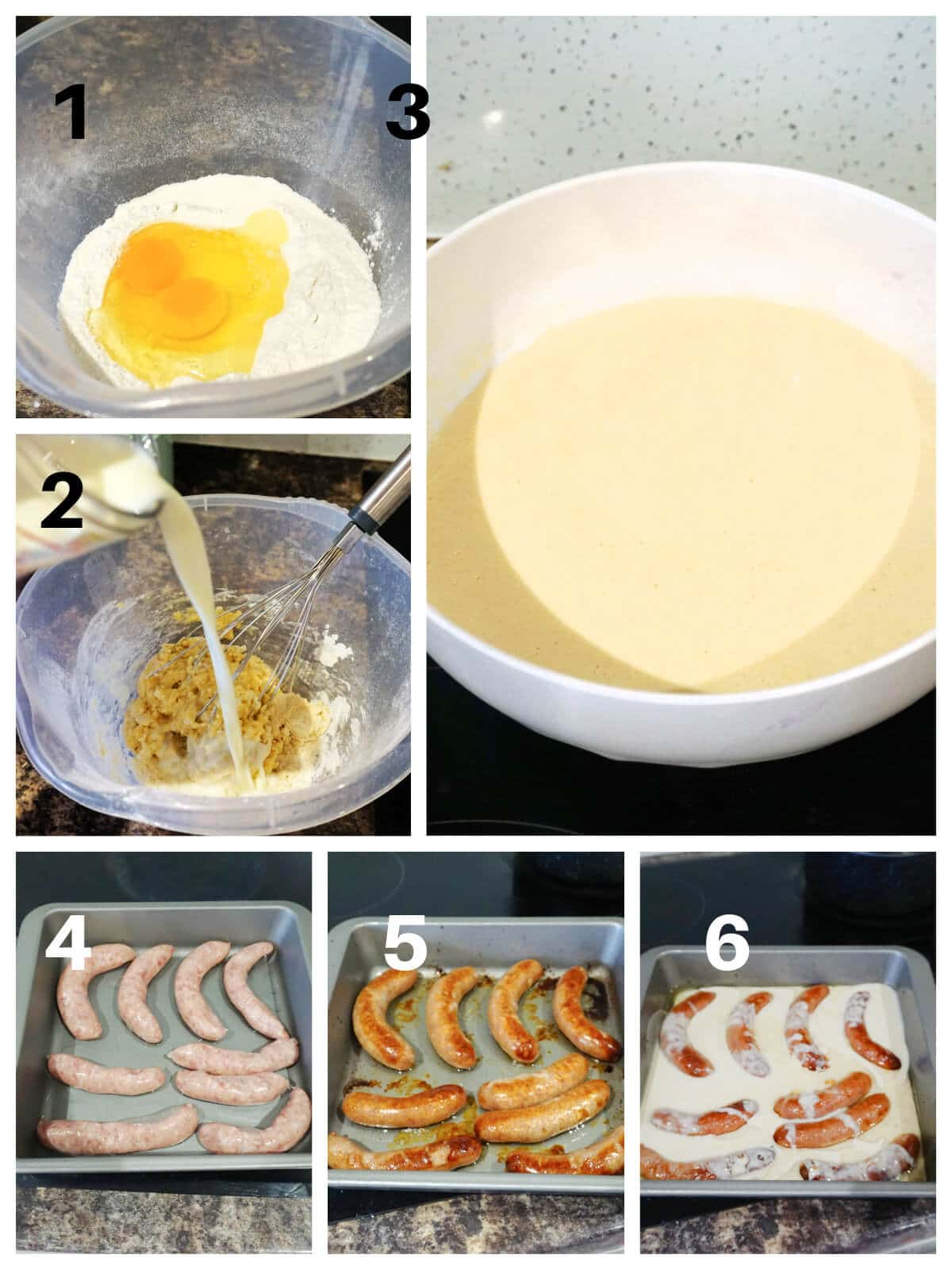 Collage of 6 photos to show how to make toad in the hole