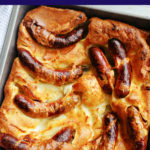 Overhesd shot of a pan with toad in the hole