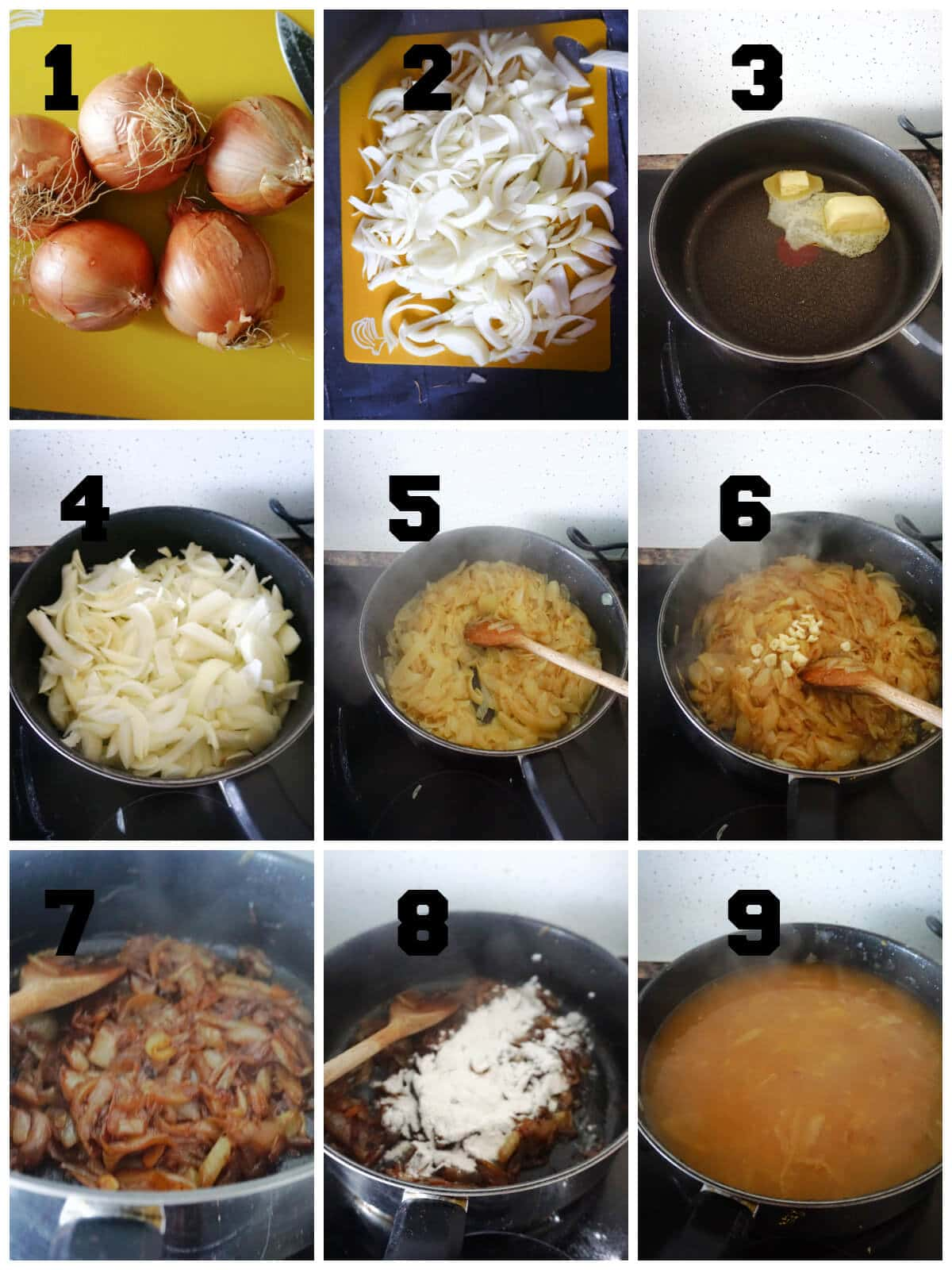 Collage of 9 photos to show how to make French Onion Soup