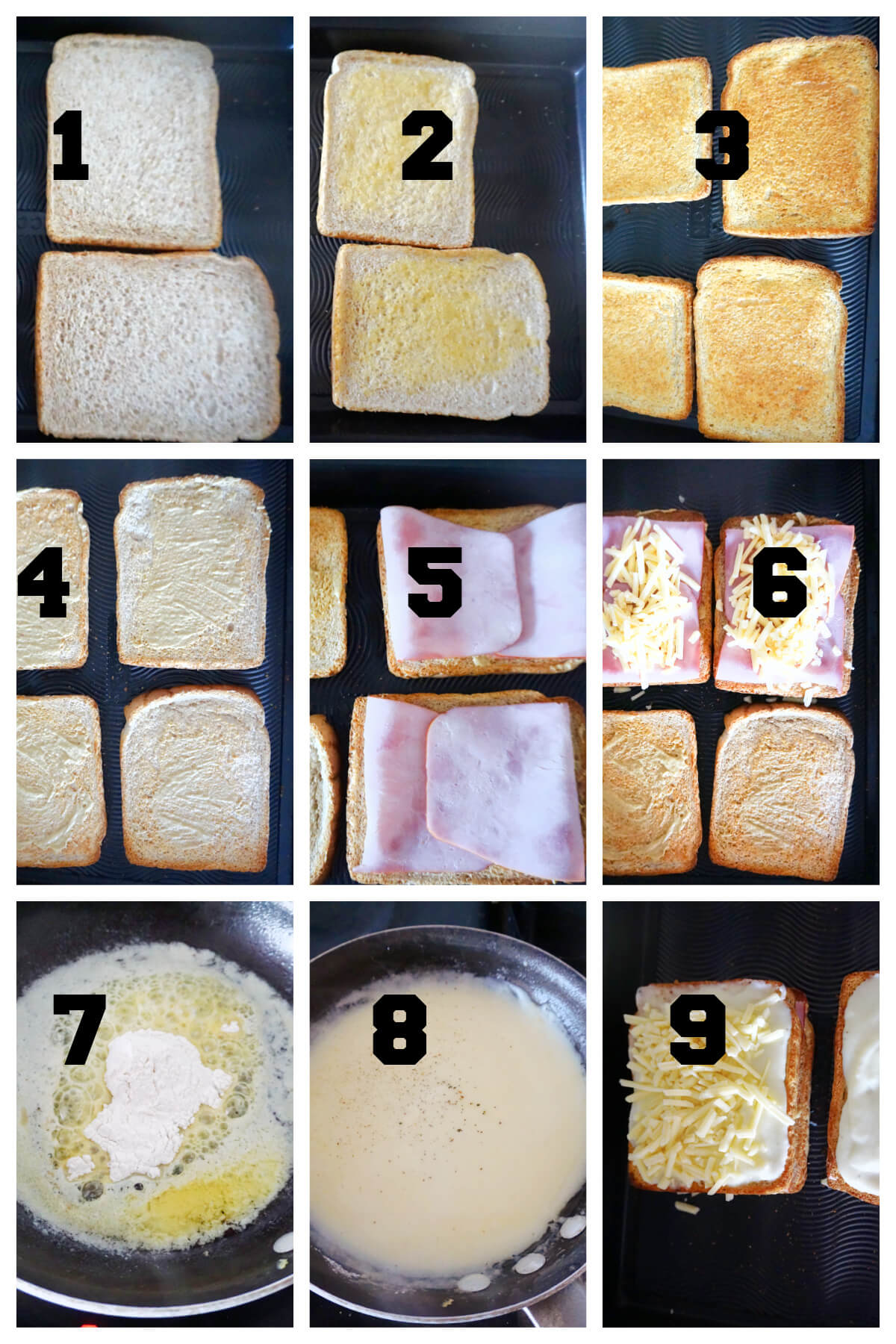 Collage of 9 images to show how to make croque monsieur