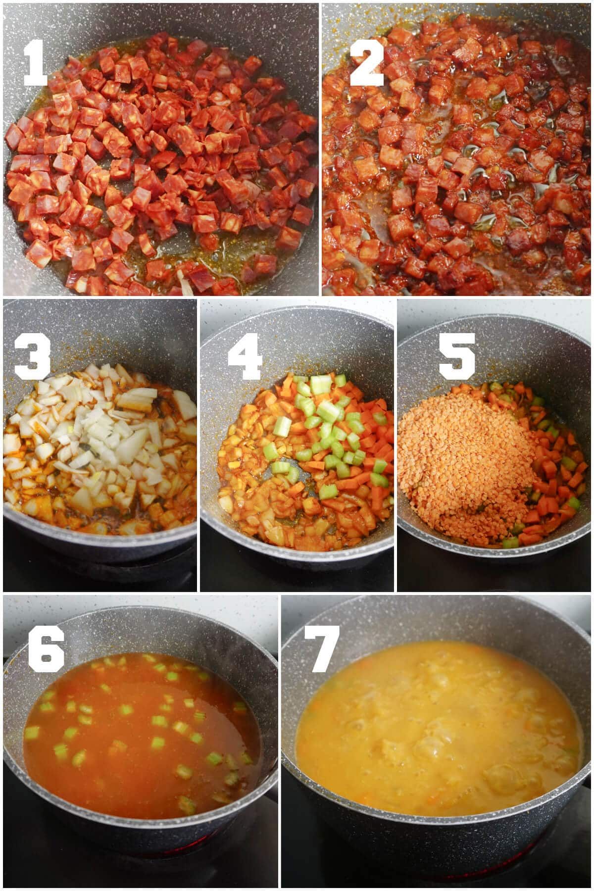 Collage of 7 photos to show how to make lentil and chorizo soup