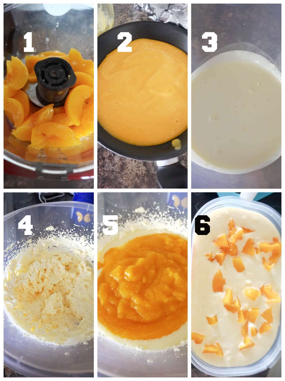 Collage of 6 photos to show how to make peach ice cream at home