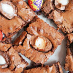 Close-up shot of slices of creme egg brownies