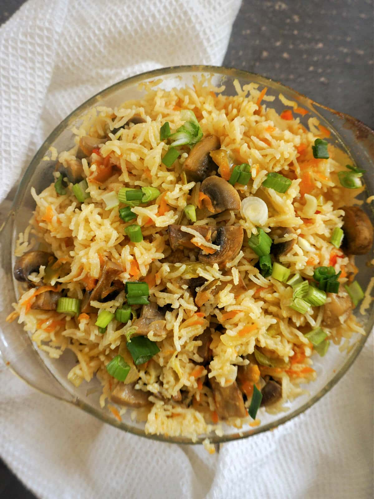 A casserole dish with vegetable rice