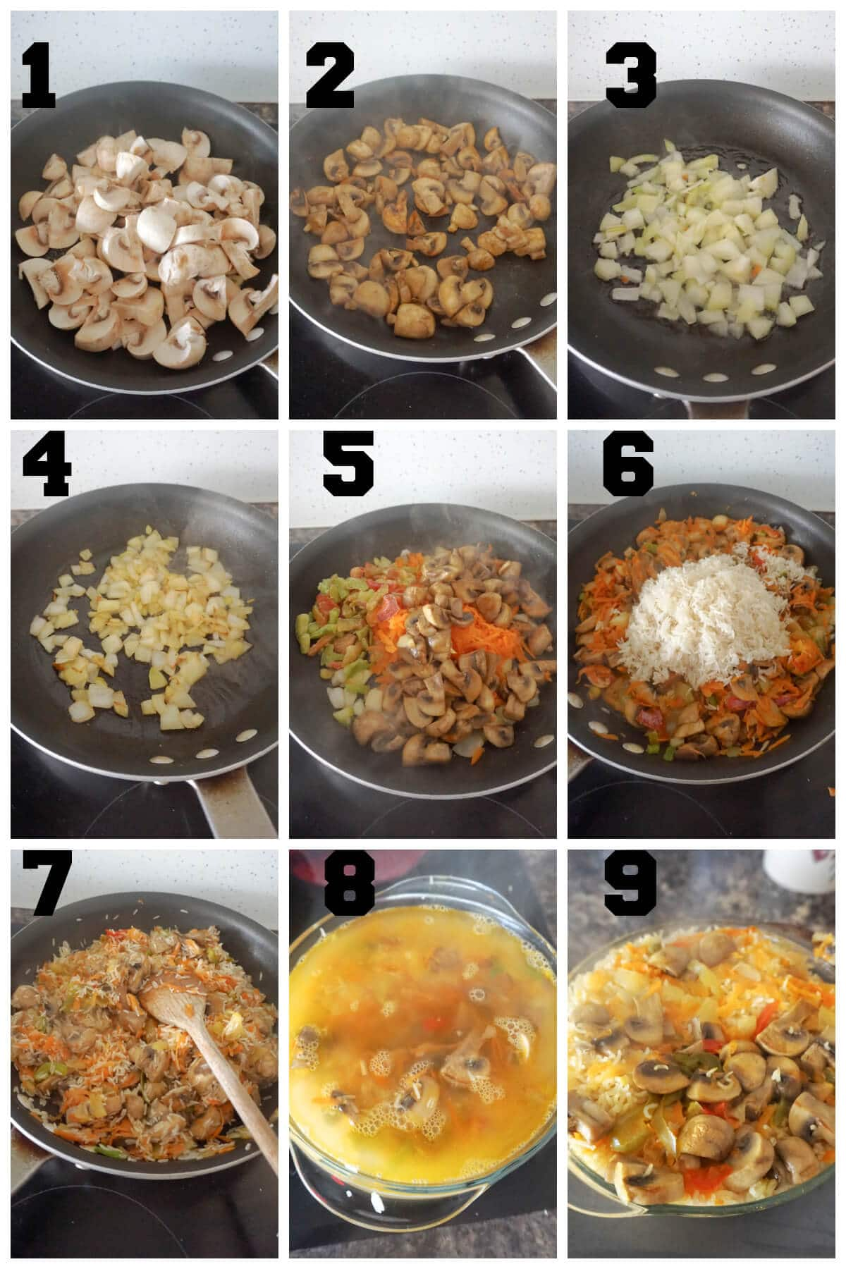 Collage of 9 photos to show how to bake rice with vegetabes