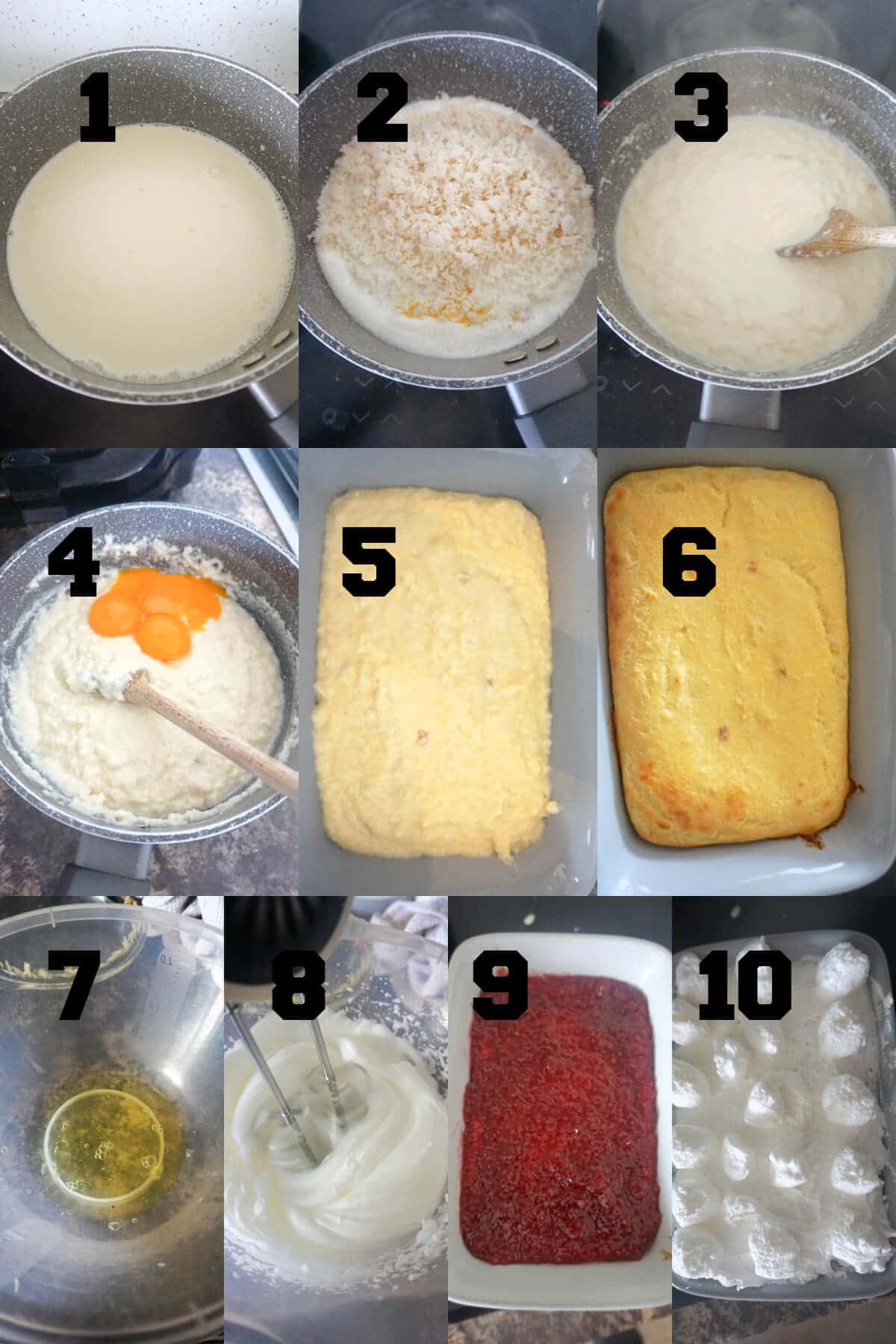 Collage of 10 pictures to show how to make queen of desserts