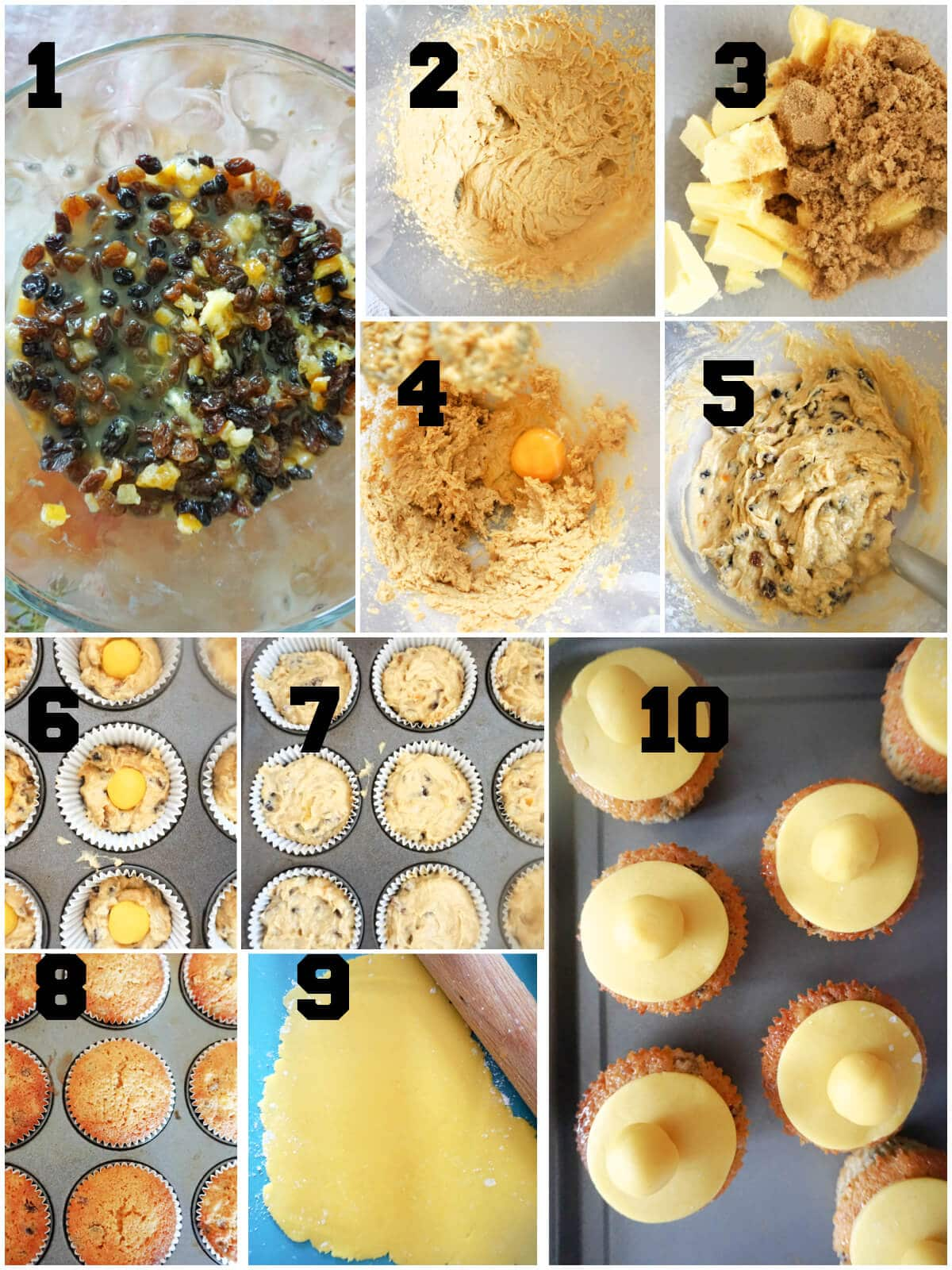 Collage of 10 pictures to show how to make simnel cupcakes