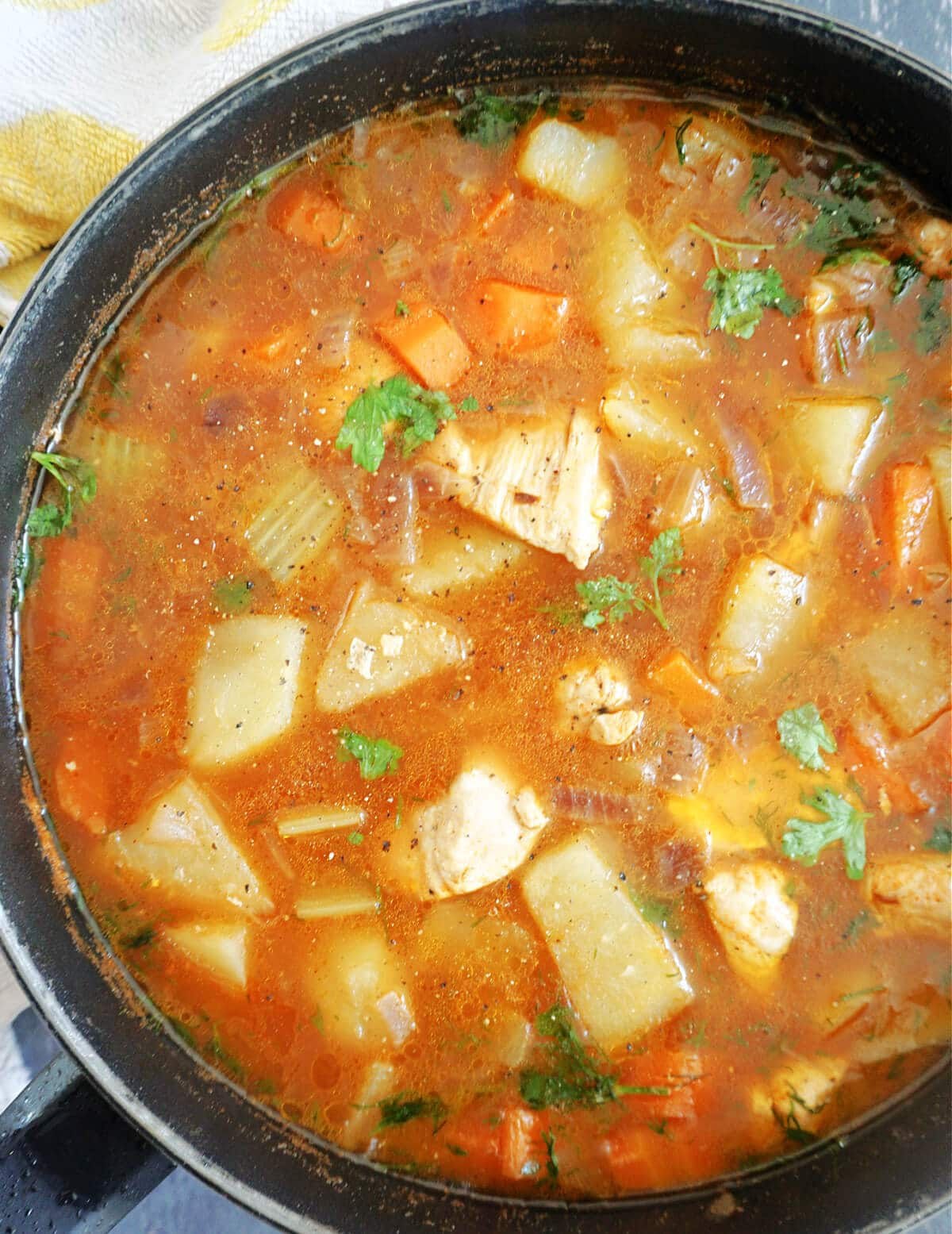 Close-up shot of a pan with chicken and vegetable stew
