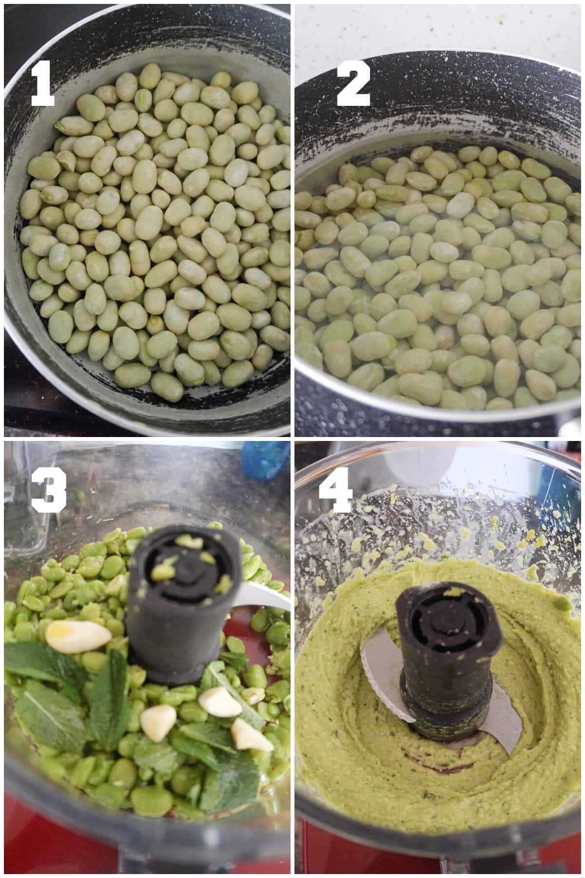 Collage of 4 photos to show how to make broad bean dip