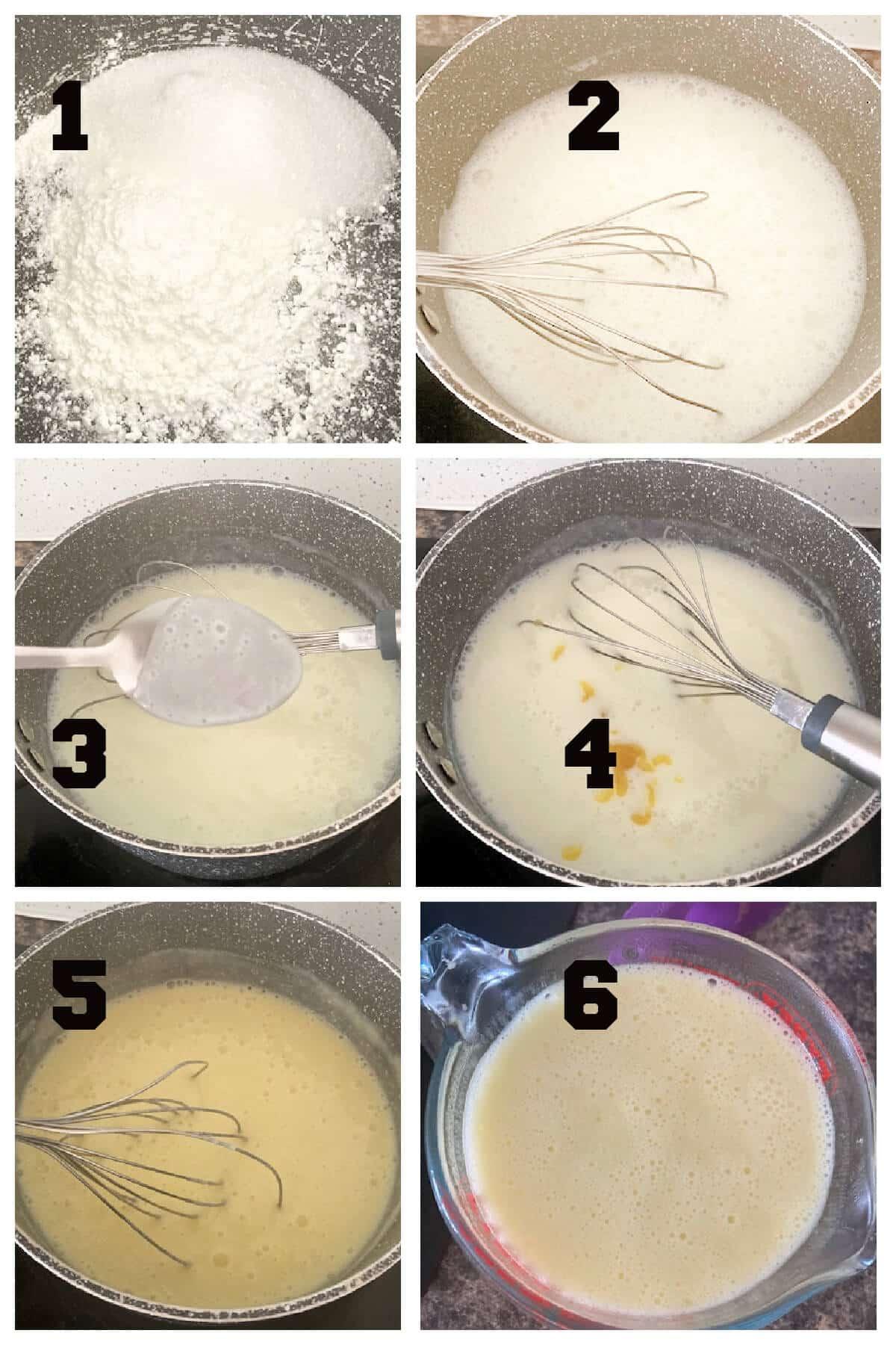 Collage of 6 photos to show how to make mango custard
