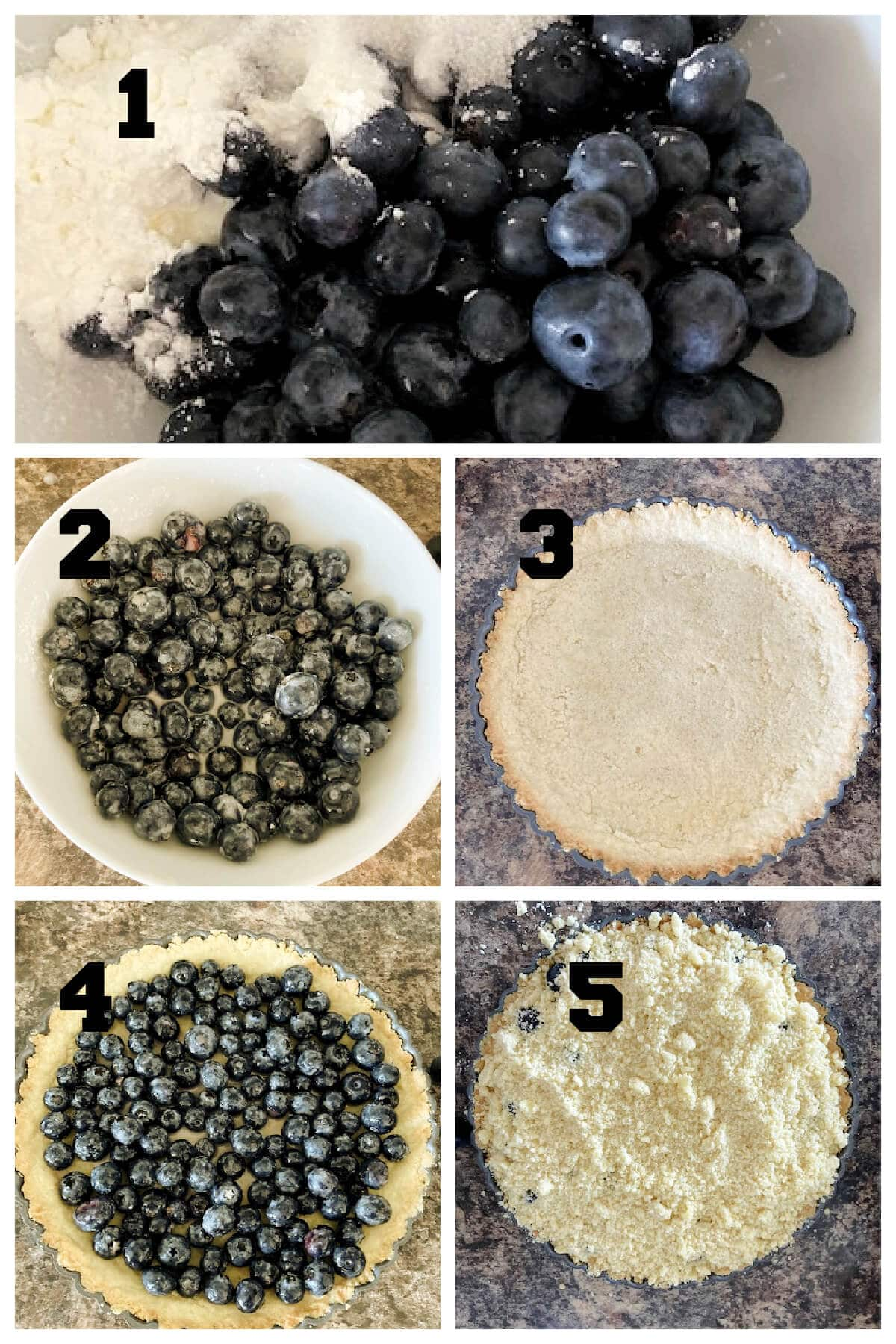 Collage of 5 photos to show how to make blueberry filling for pies