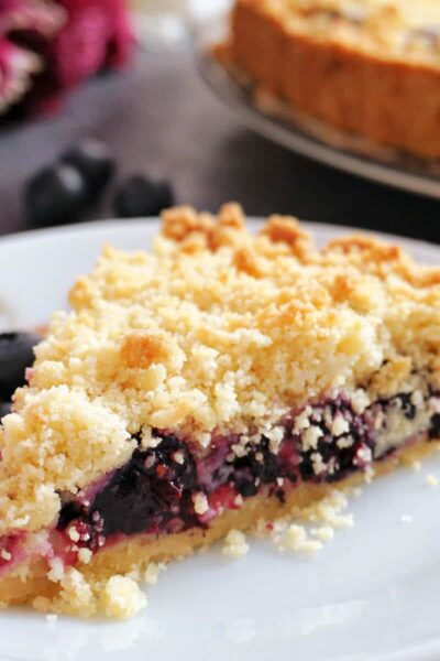 A slice of blueberry crumb pie on a white plate