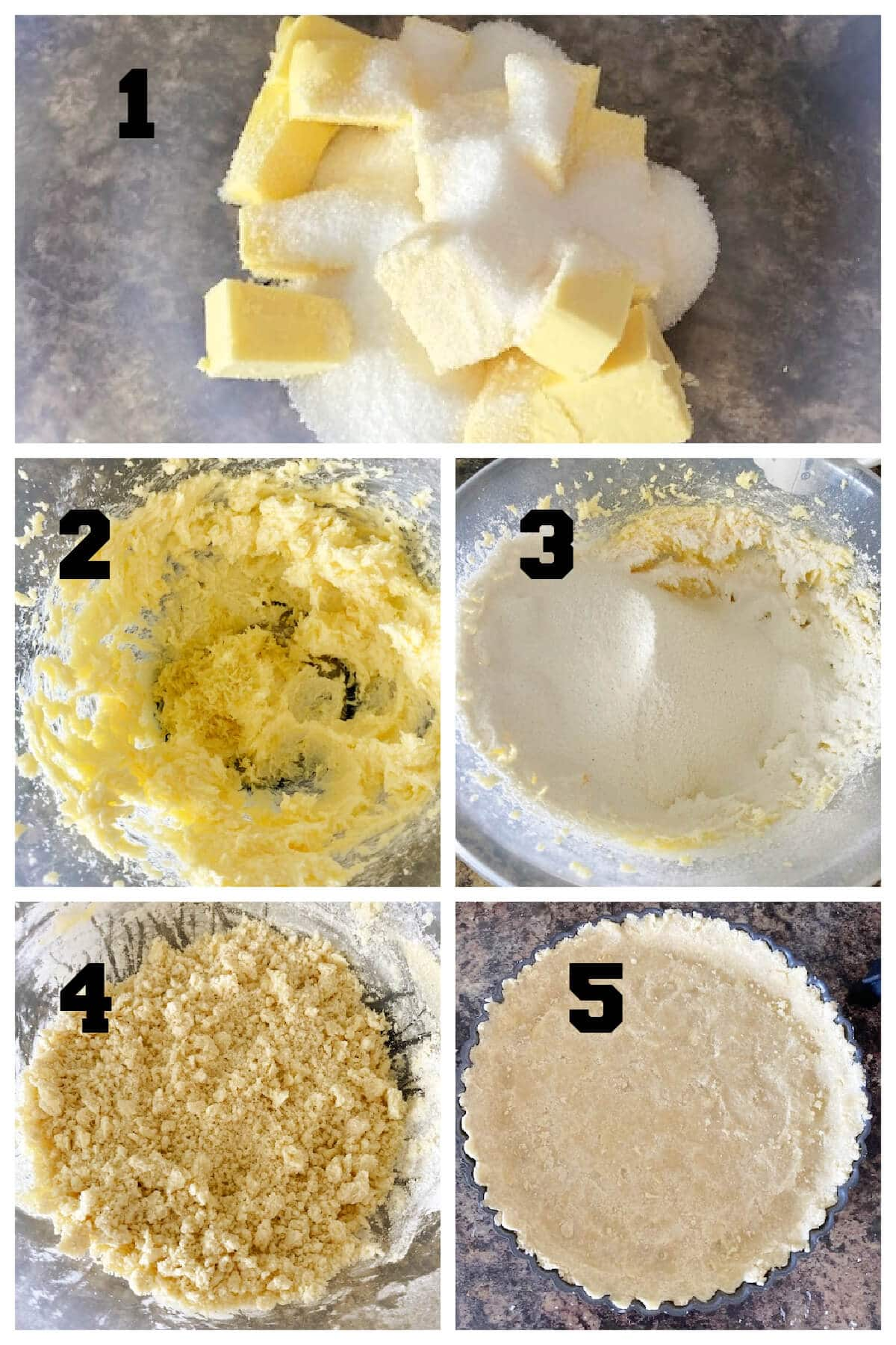 Collage pf 5 photos to show how to make the crust for the blueberry pie