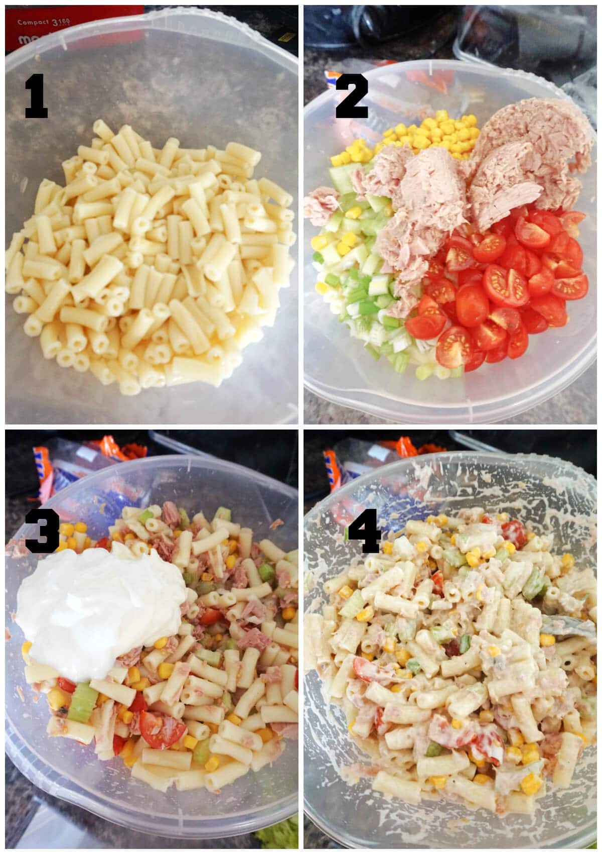Collage of 4 photos to show how to make tuna pasta salad