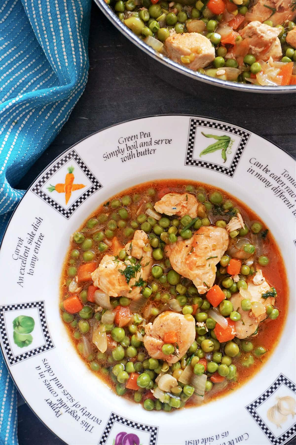 Overhead shot of a white plate with chicken and pea stew