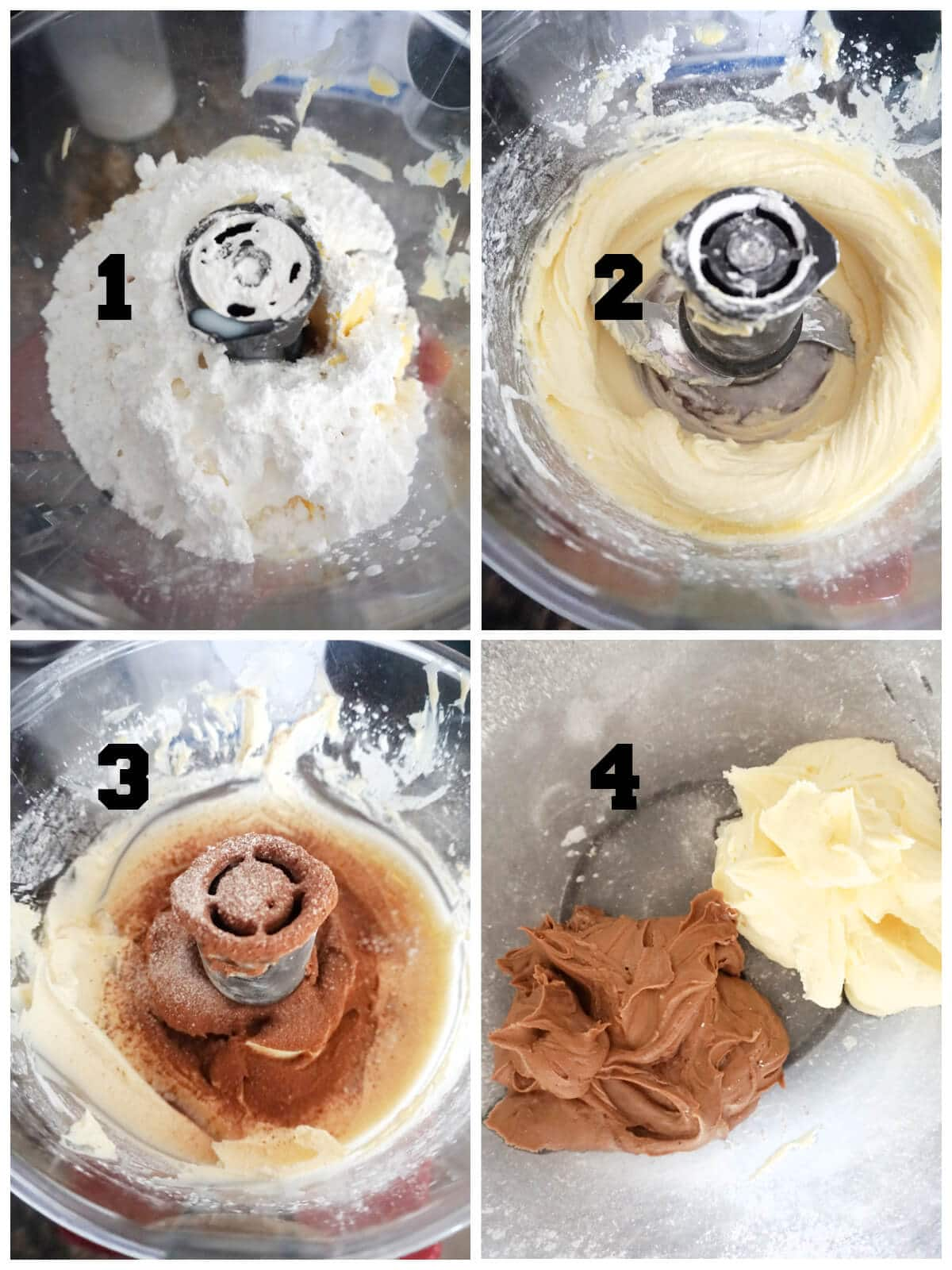 Collage of 4 photos to show how to make marbled buttercream