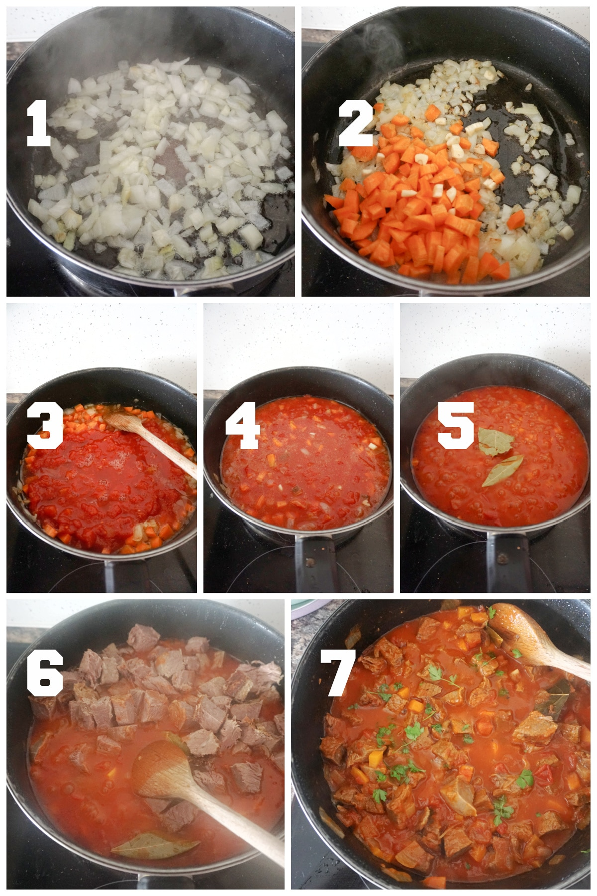 Collage of 7 photos to show how to make leftover roast beef chilli