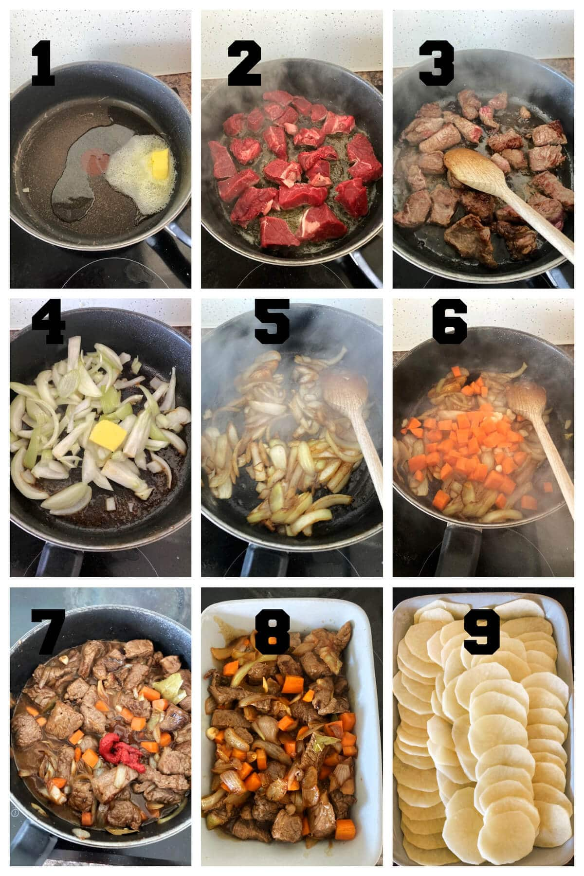 Collage of 9 photos to show how to make beef hotpot