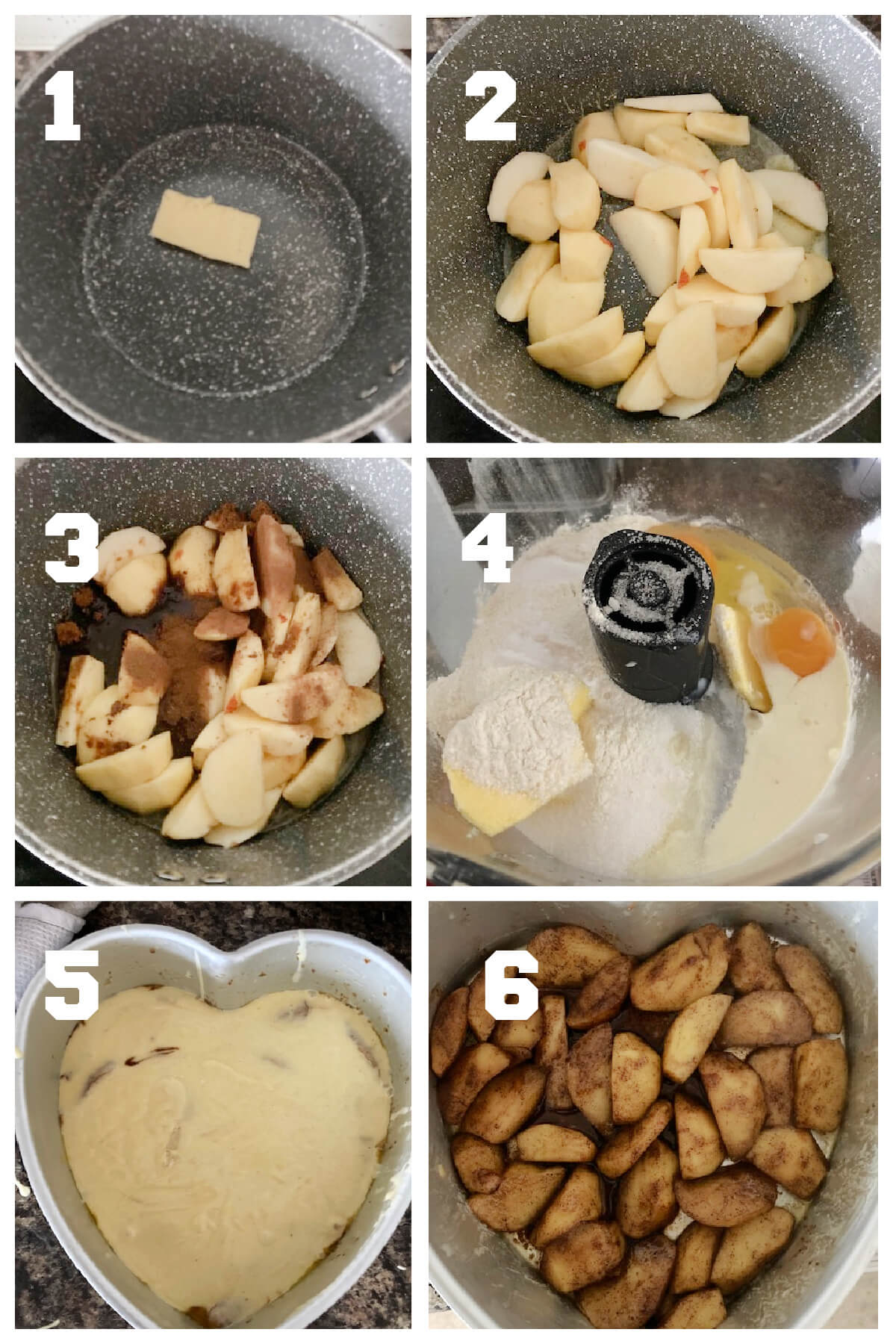 Collage of 6 photos to show how to make apple upside down cake