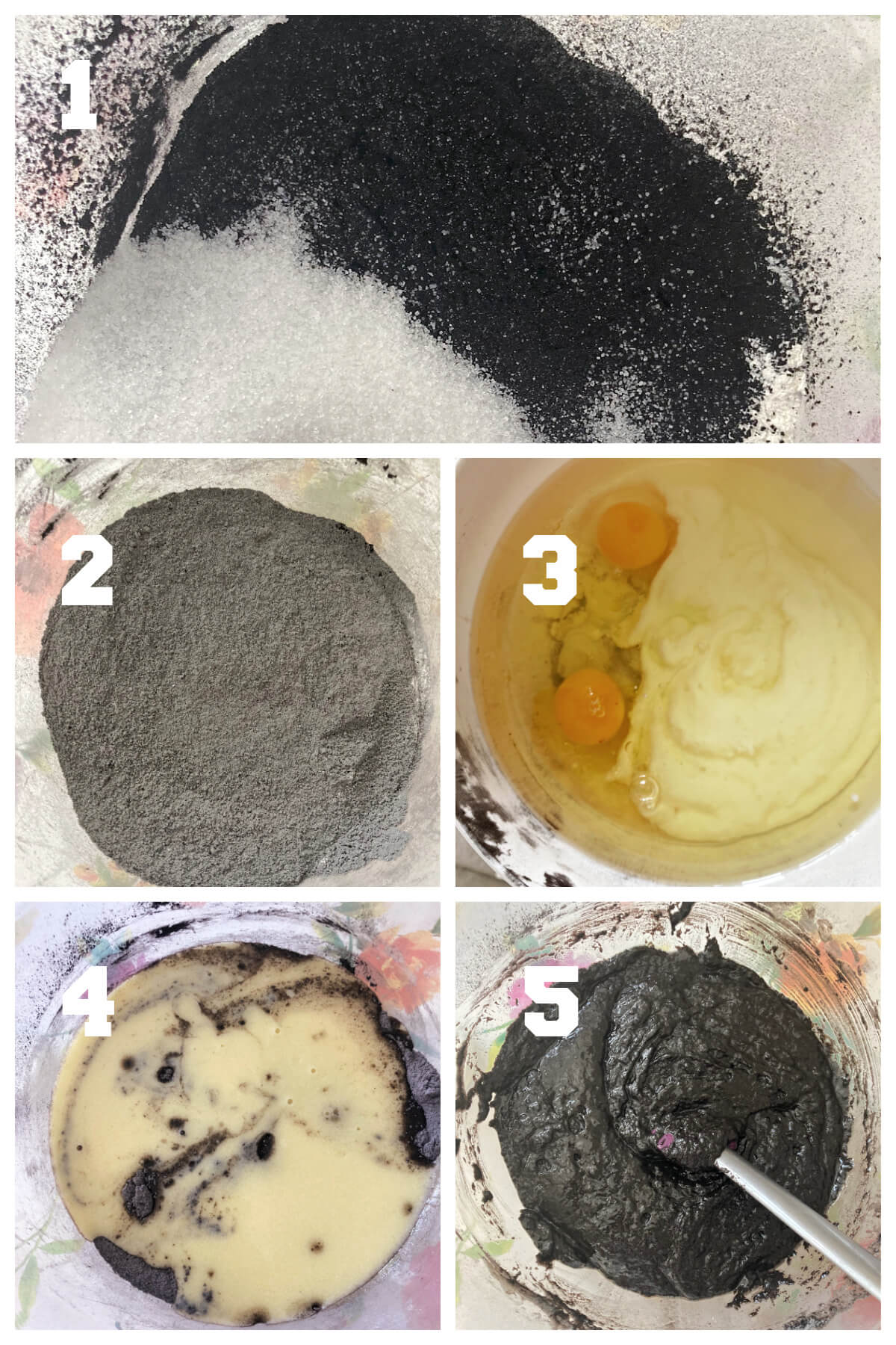 Collage of 5 photos to show how to make a black velvet sponge