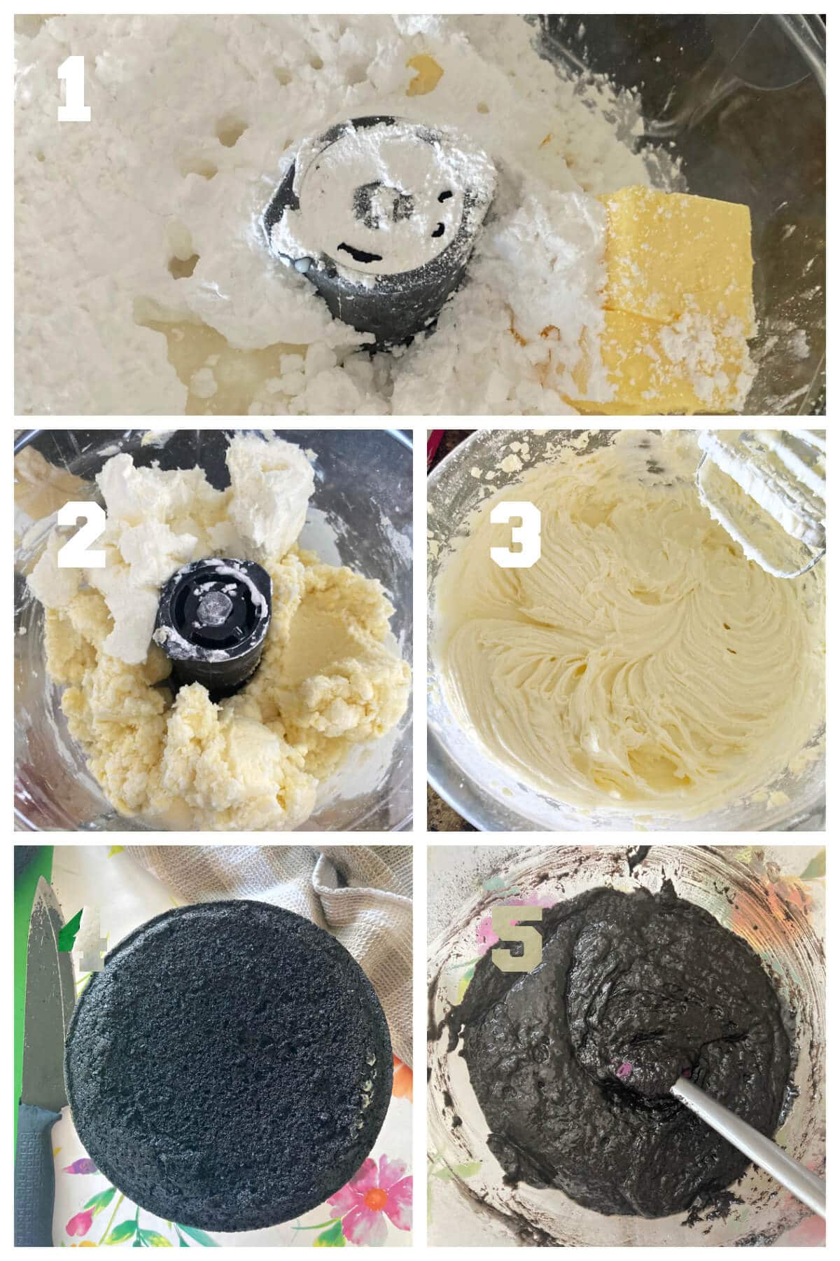 Collage of 5 photos to show how to make the cream cheese buttercream frosting and decorate the black velvet cake