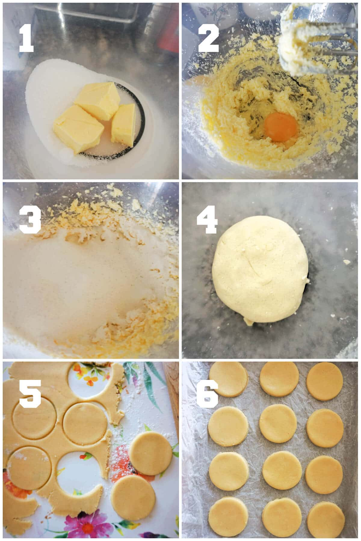 Collage of 6 photos to show how to make sugar cookies