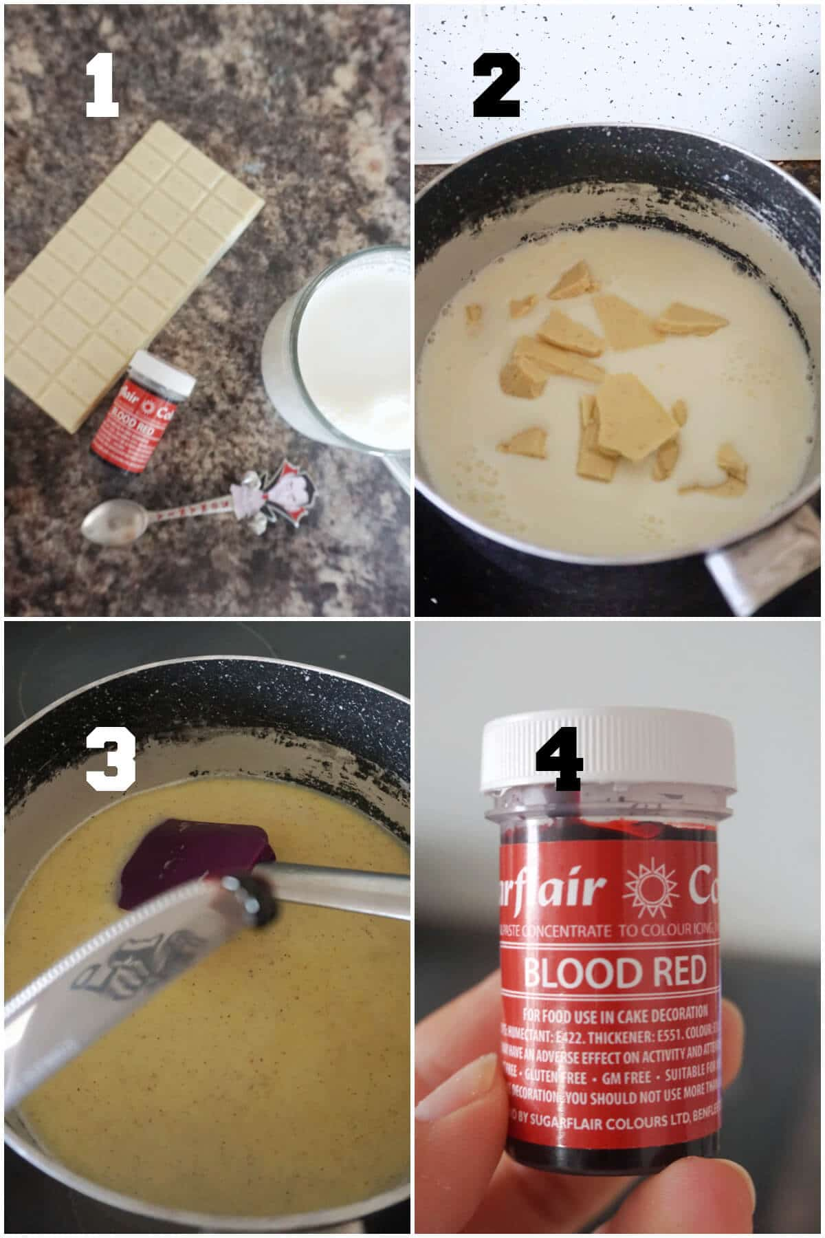 Collage of 4 photos to show how to make red velvet hot chocolate