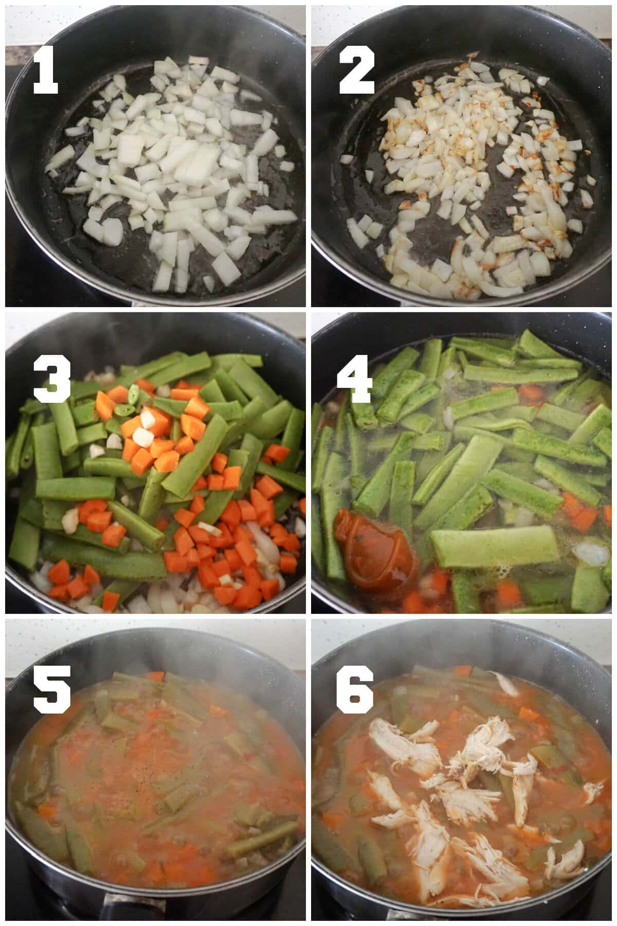 Collage of 6 photos to show how to make green bean stew with leftover chicken