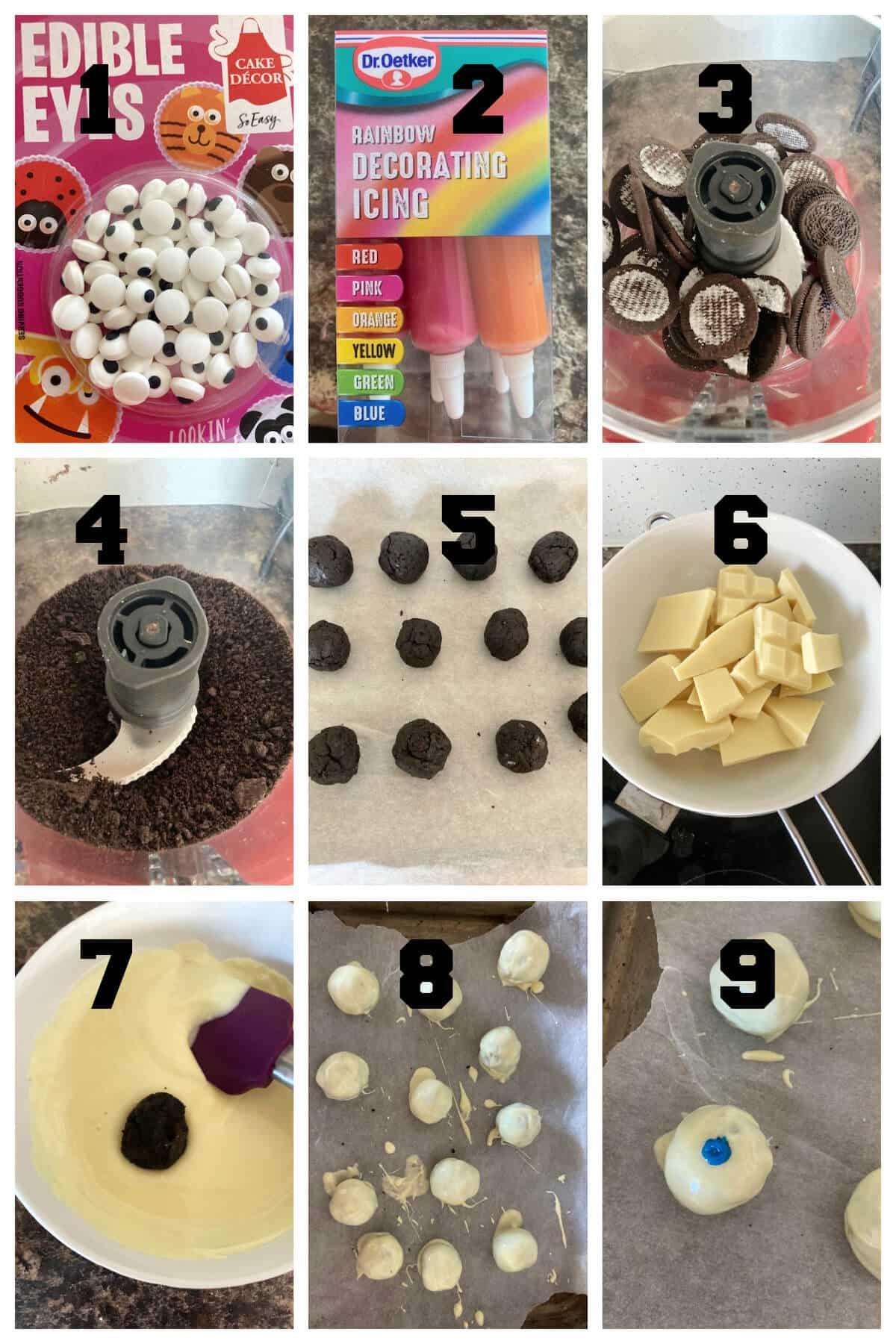 Collage of 9 photos to show how to make Halloween oreo truffles